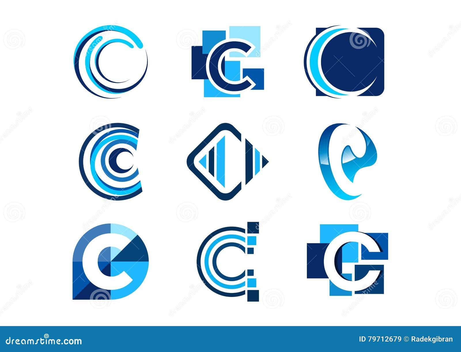 Beschriften Sie c-Logo, Element-Firmenlogos des Konzeptes abstrakte, Satz abstraktes Logogeschäftssammlungssymbolikonen-Vektordes