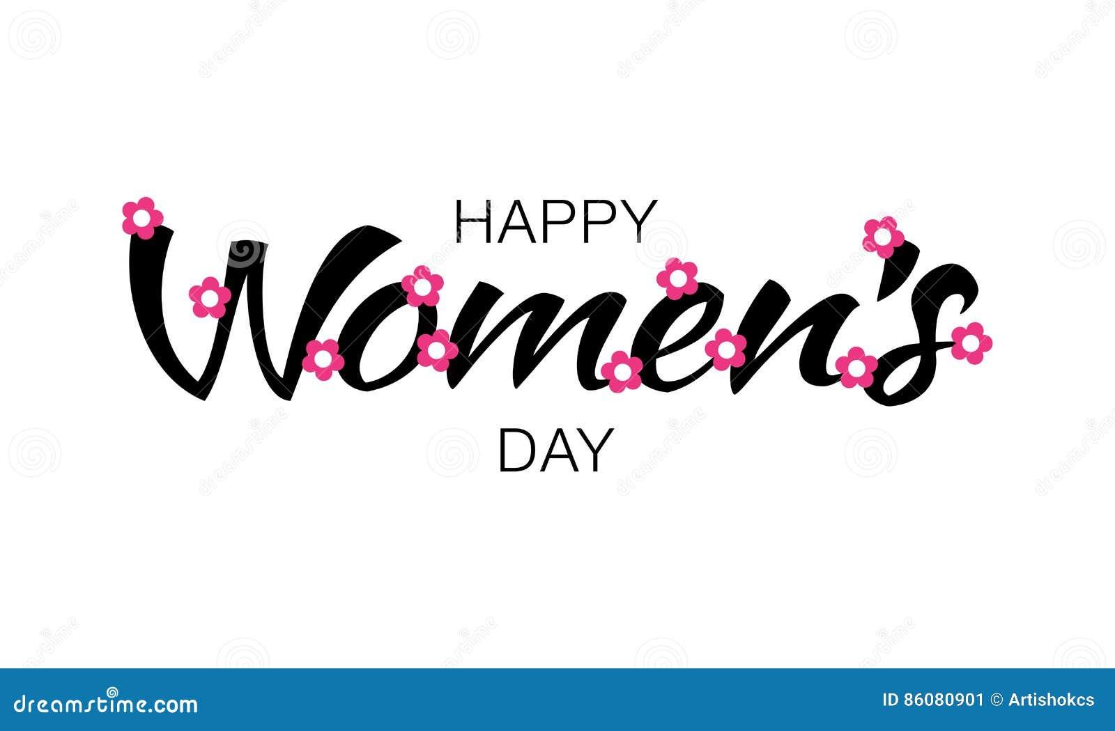 cb3dfb96657d4e Beschriftung der schwarzen glücklichen Frauen Tagesauf weißem Hintergrund  mit rosa Blumen Vector Abbildung einer Grußkarte
