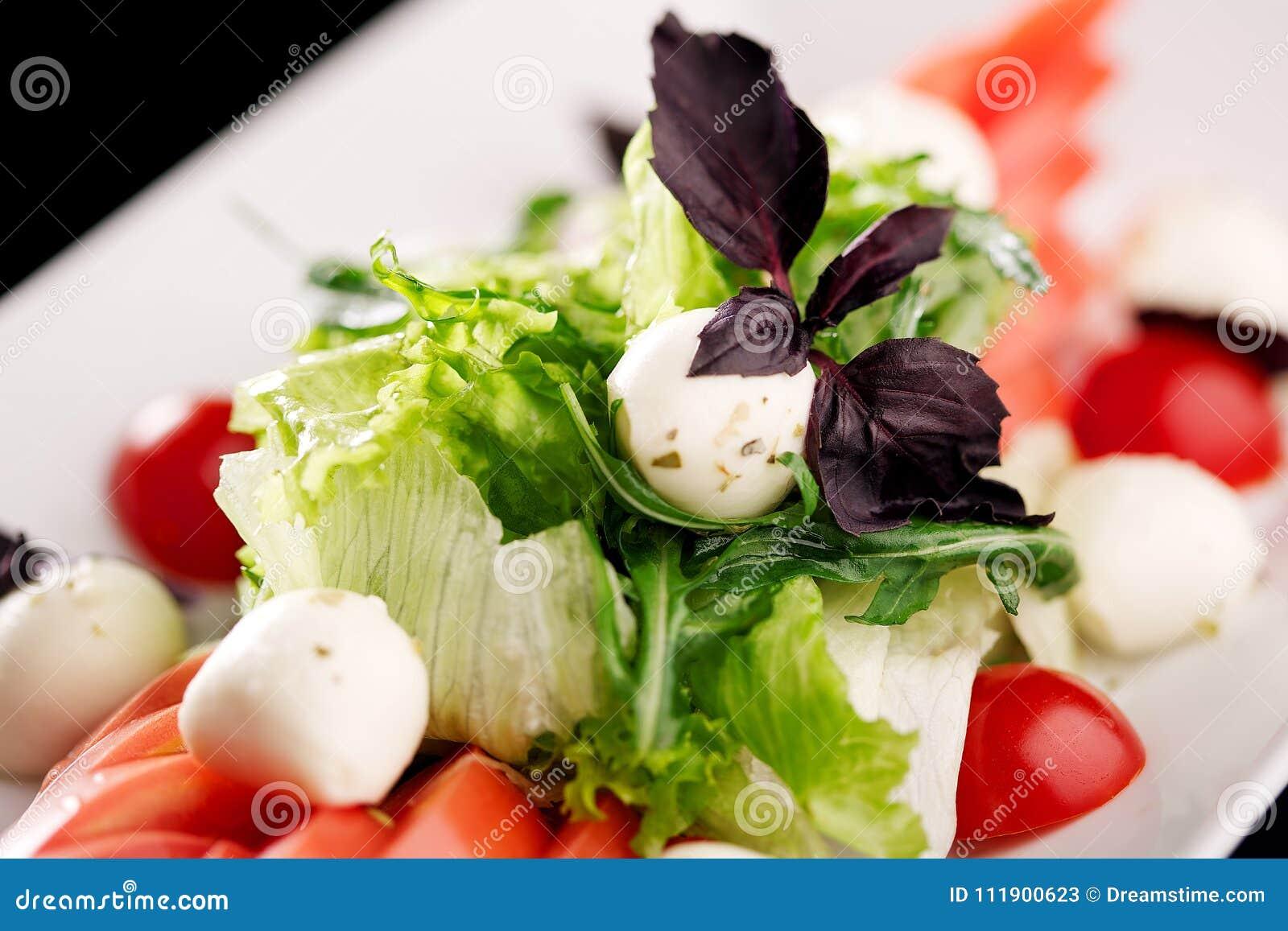 Besegra blandningen av sallad med tomater och mozzarellaen
