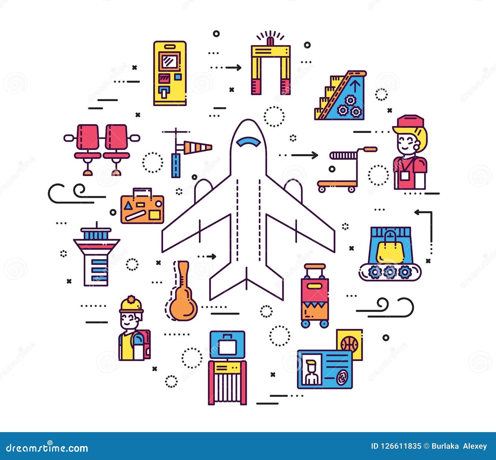 Besetzen Sie das Bearbeiten und das Registrieren von Leuten und von Gepäck im Flughafendesign mit Personal Passlinie Vektorillust