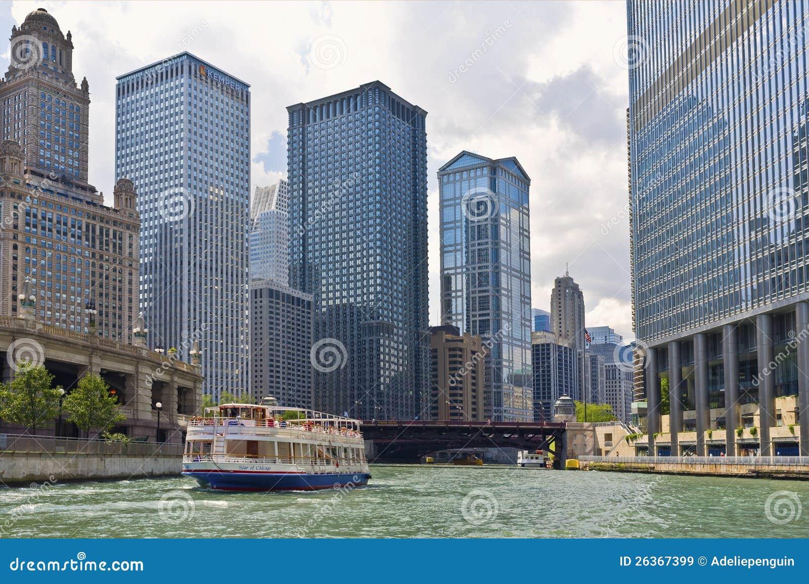 Besichtigenboot, Chicago-Fluss, Illinois