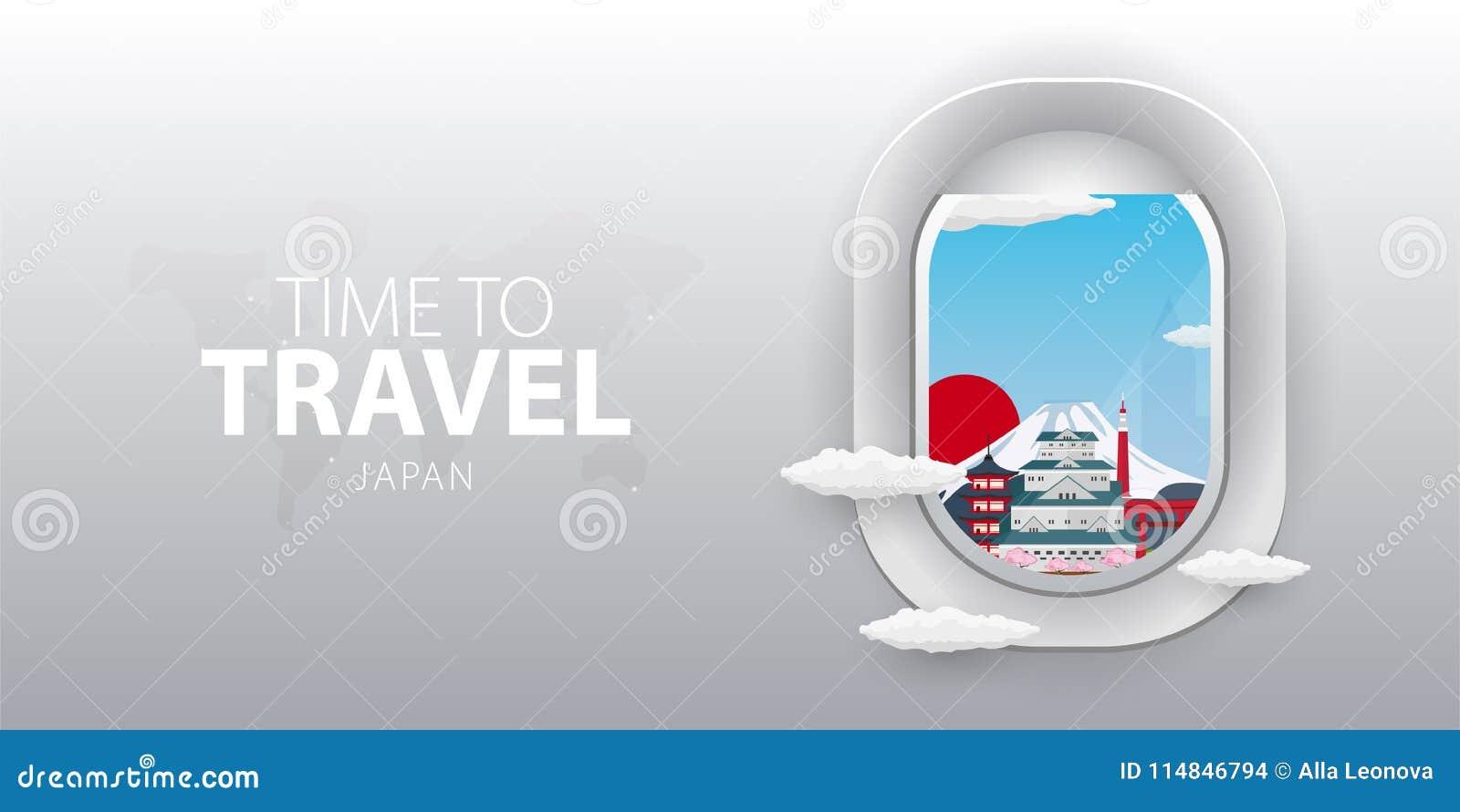 Beskåda från flygplan Flygfönster japan Plant rengöringsdukvektorbaner