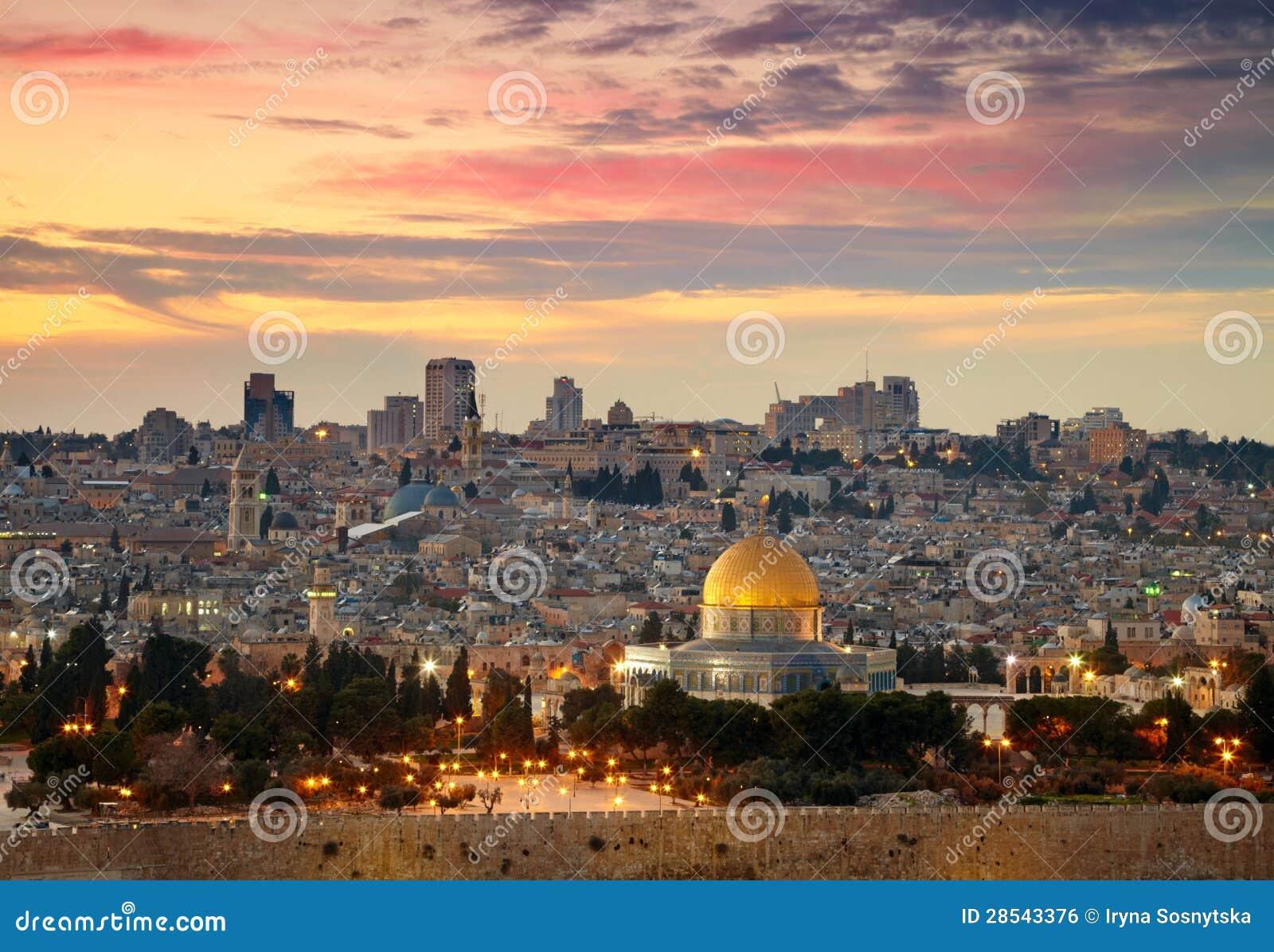 Beskåda till Jerusalem gammala staden.