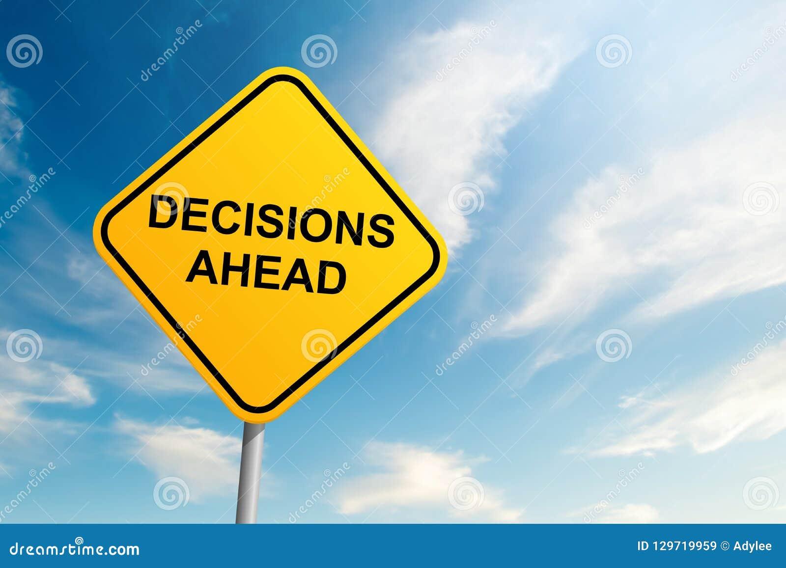 Besluiten vooruit verkeersteken met blauwe hemel en wolkenachtergrond