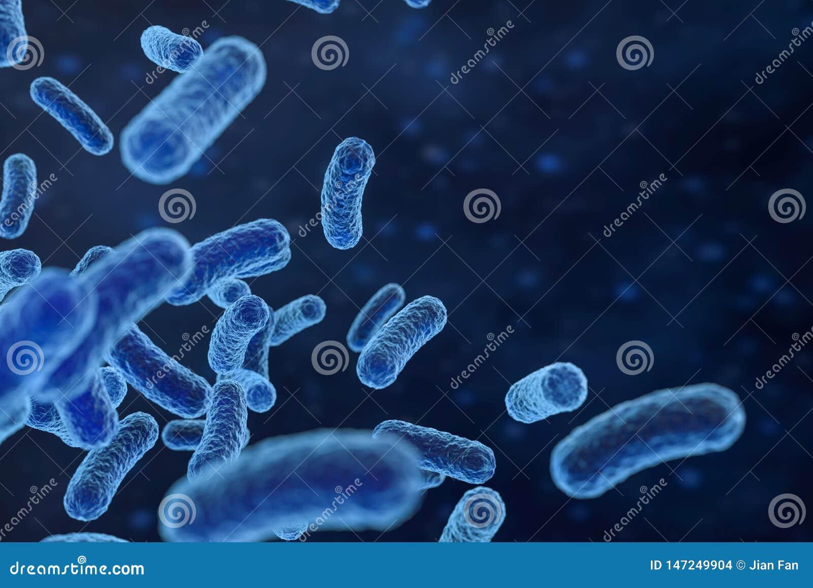 Besmettelijk virus met oppervlaktedetails op blauwe achtergrond, het 3d teruggeven