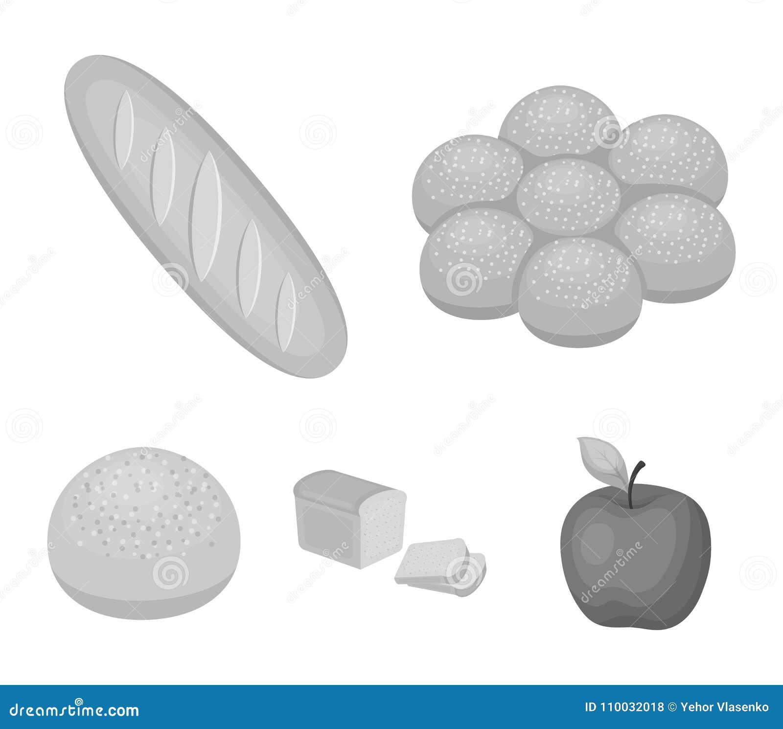 Besnoeiingsbrood, broodje met poeder, de helft van brood, het bakken Pictogrammen van de brood de vastgestelde inzameling in zwar
