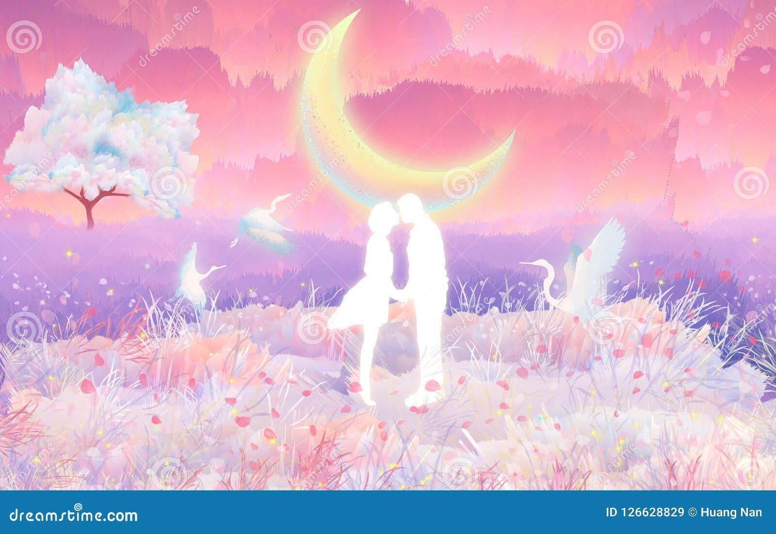 Beso de los amantes de la flor de cerezo en el moonlightin el claro de luna, que es una escena hermosa