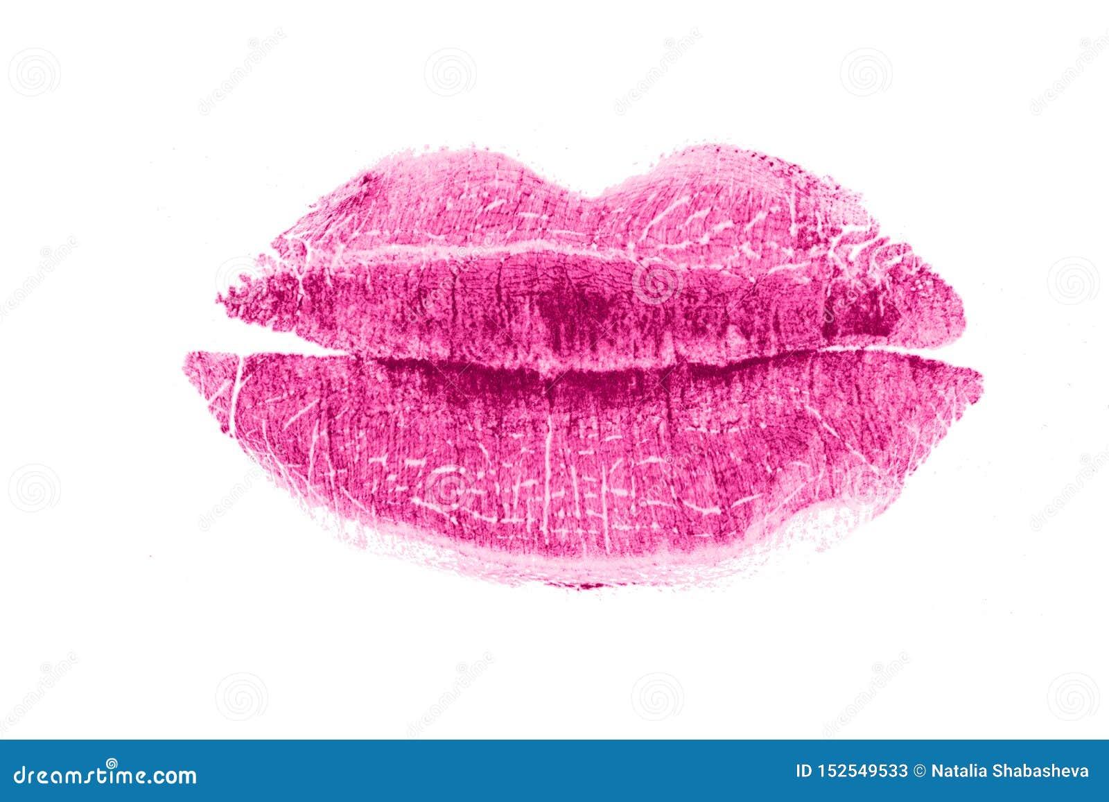 Beso del l?piz labial aislado en el fondo blanco