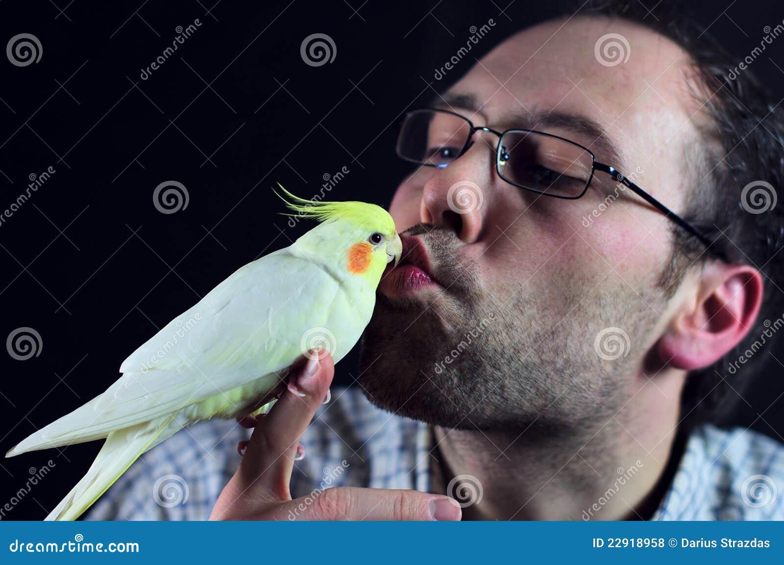 Beso del pájaro un hombre