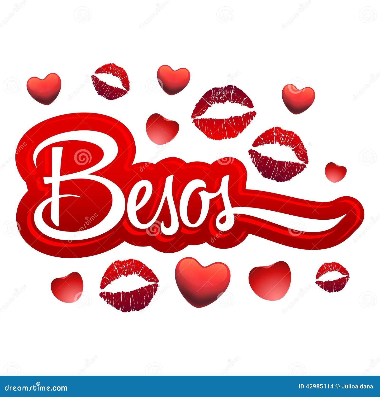 besos -亲吻西班牙文本-性感的红色嘴唇象-可利用的eps.