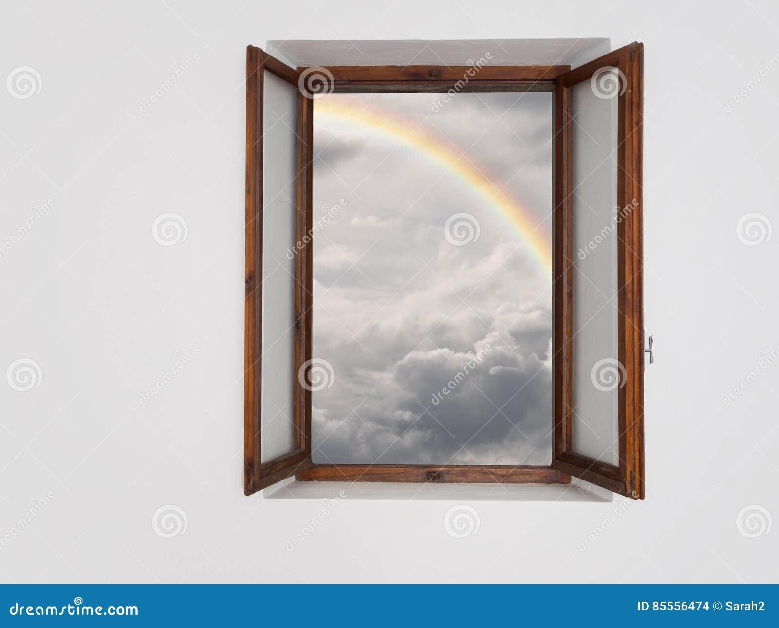 Bessere Zeiten voran, Konzept Fenster auf verbessertem Wetter