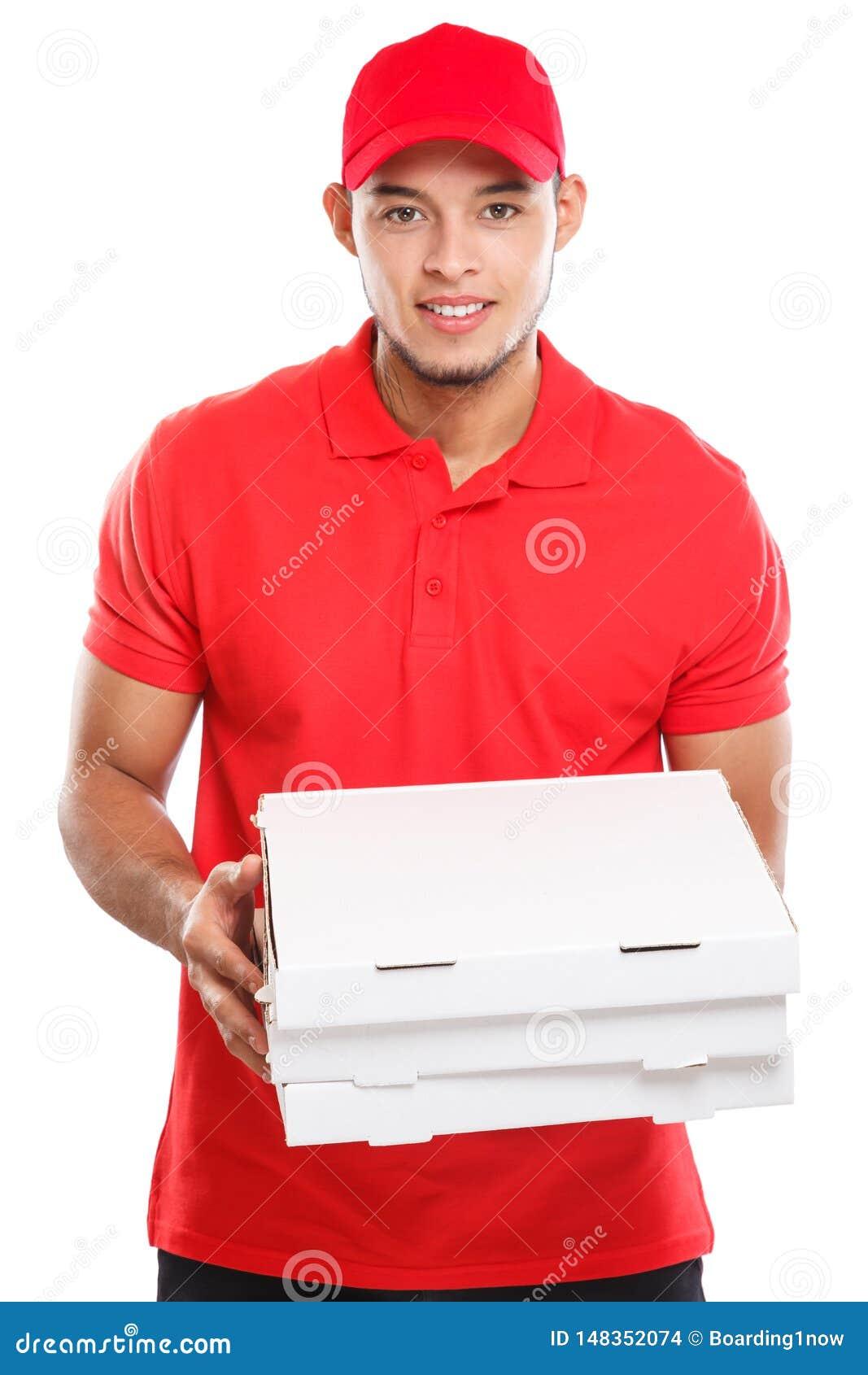Beställning för pojken för mannen för pizzaleveransen som levererar latinsk levererar jobb, ungt för ask som isoleras på vit