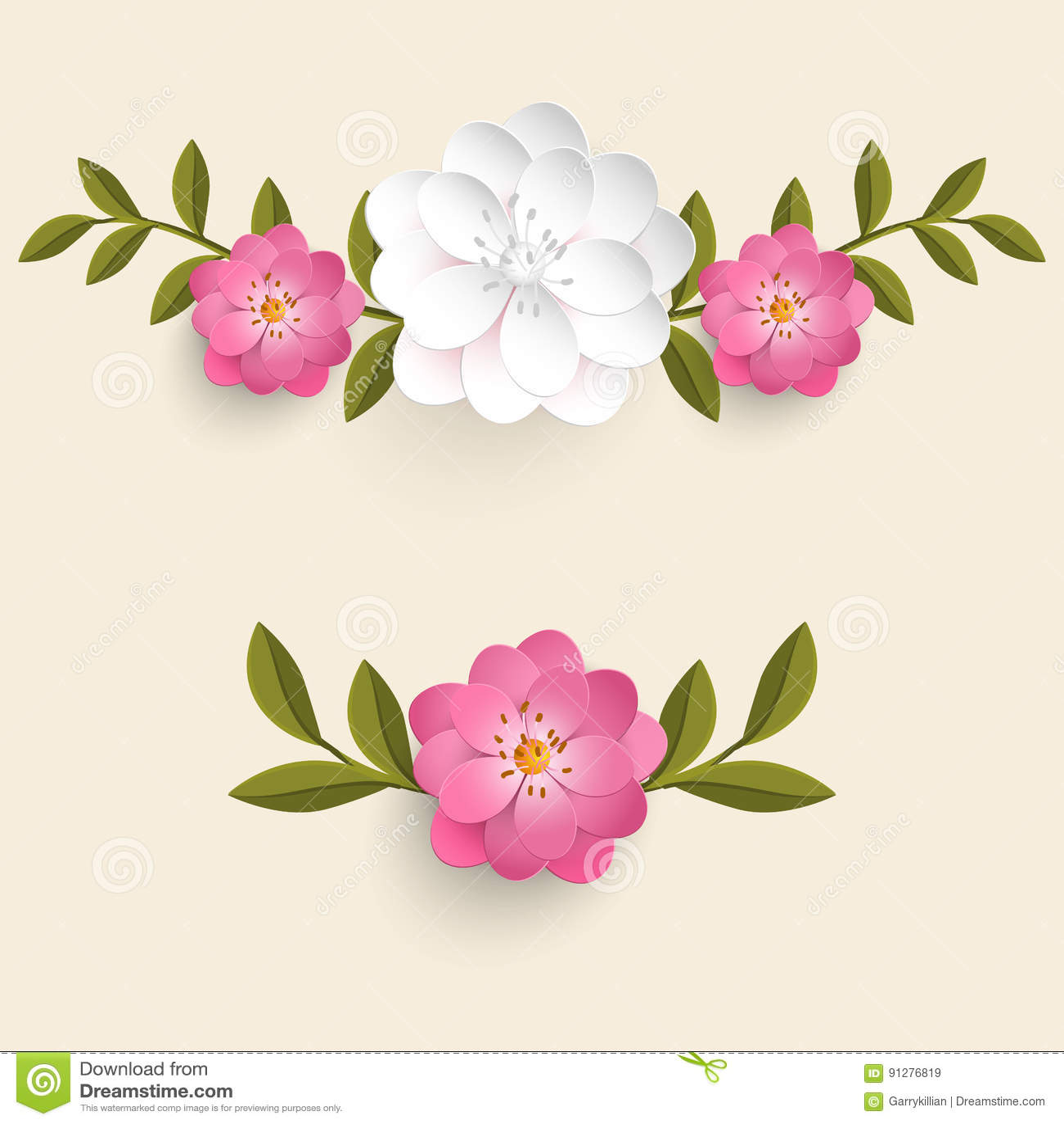 Beståndsdel för blom- design för vektor för sidagarnering Blommor med sidor På den ljusa bakgrunden
