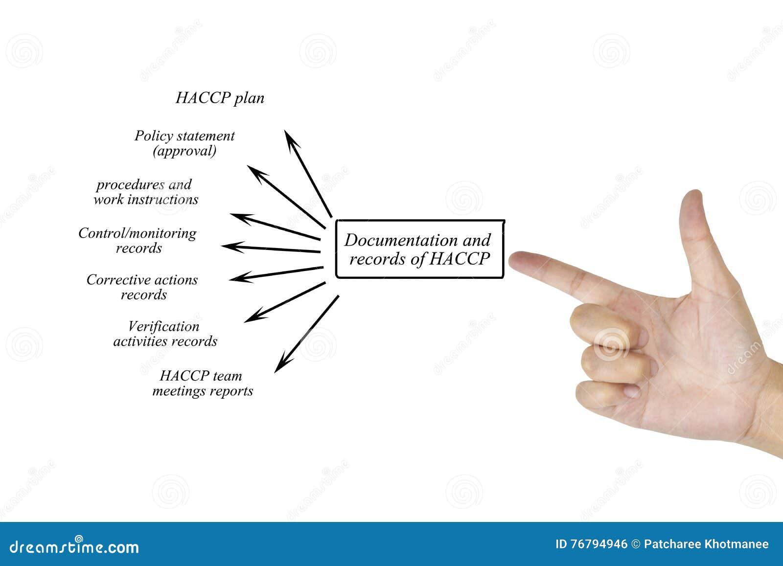 Beståndsdel för kvinnahandhandstil av dokumentationsrekordet av sy HACCP