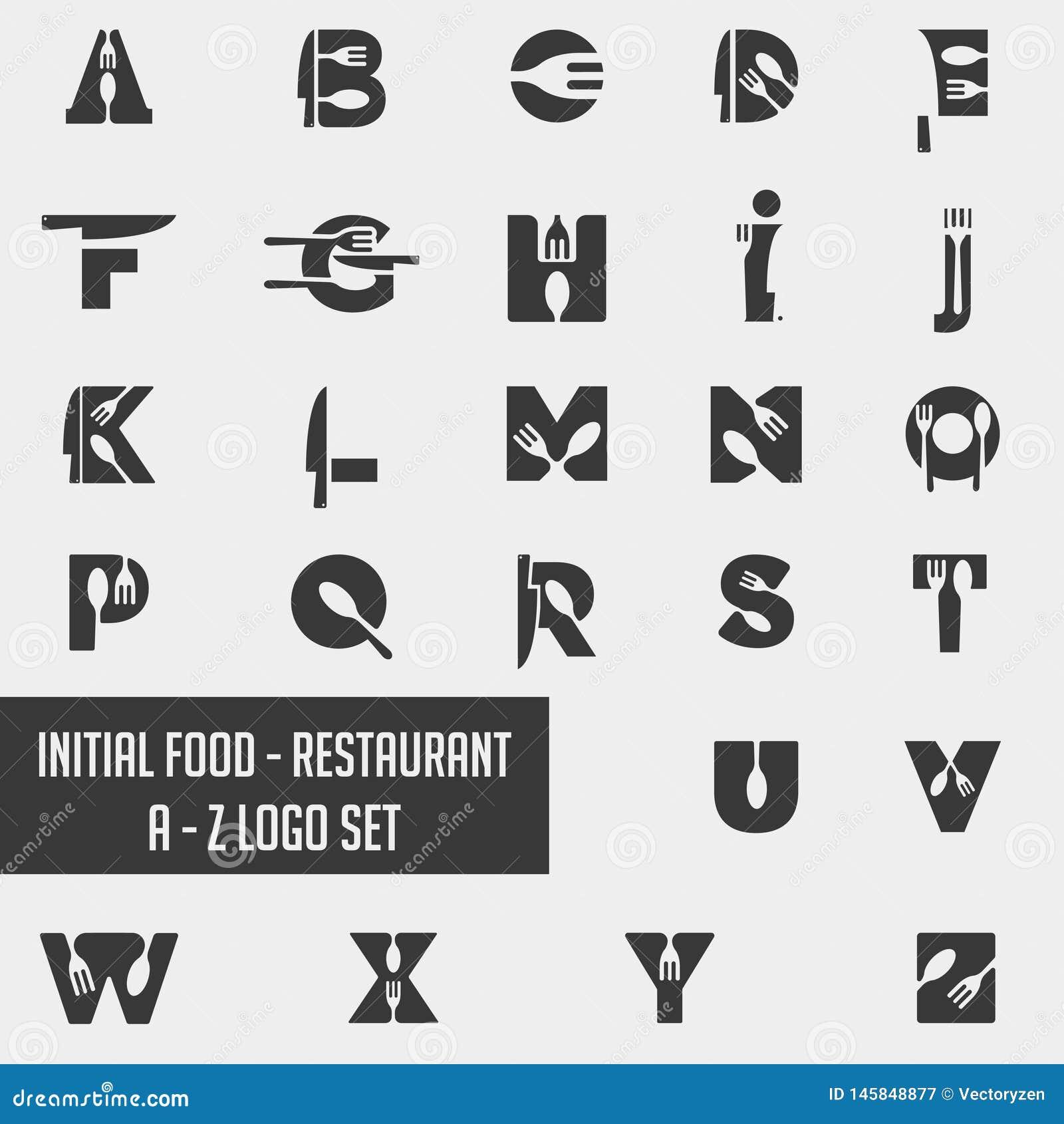 Beståndsdel för symbol för vektor för design för samling för logo för alfabetmatkock