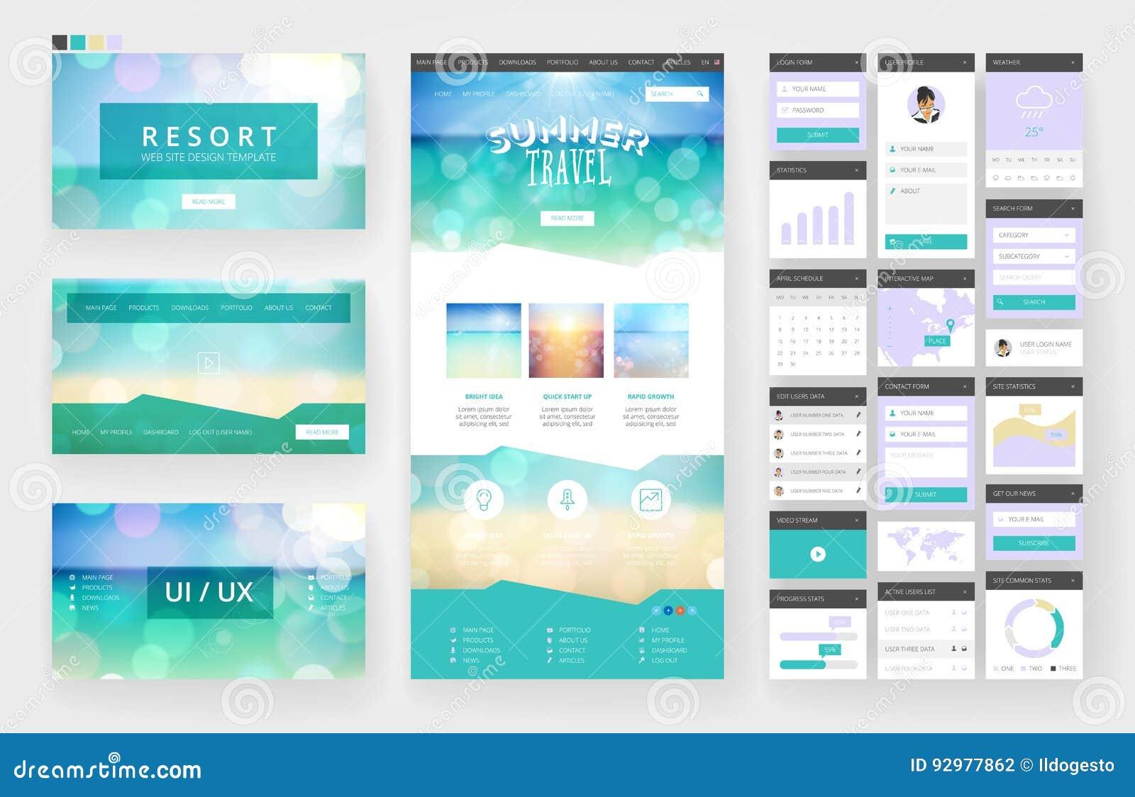 Beståndsdelar för för Websitedesignmall och manöverenhet