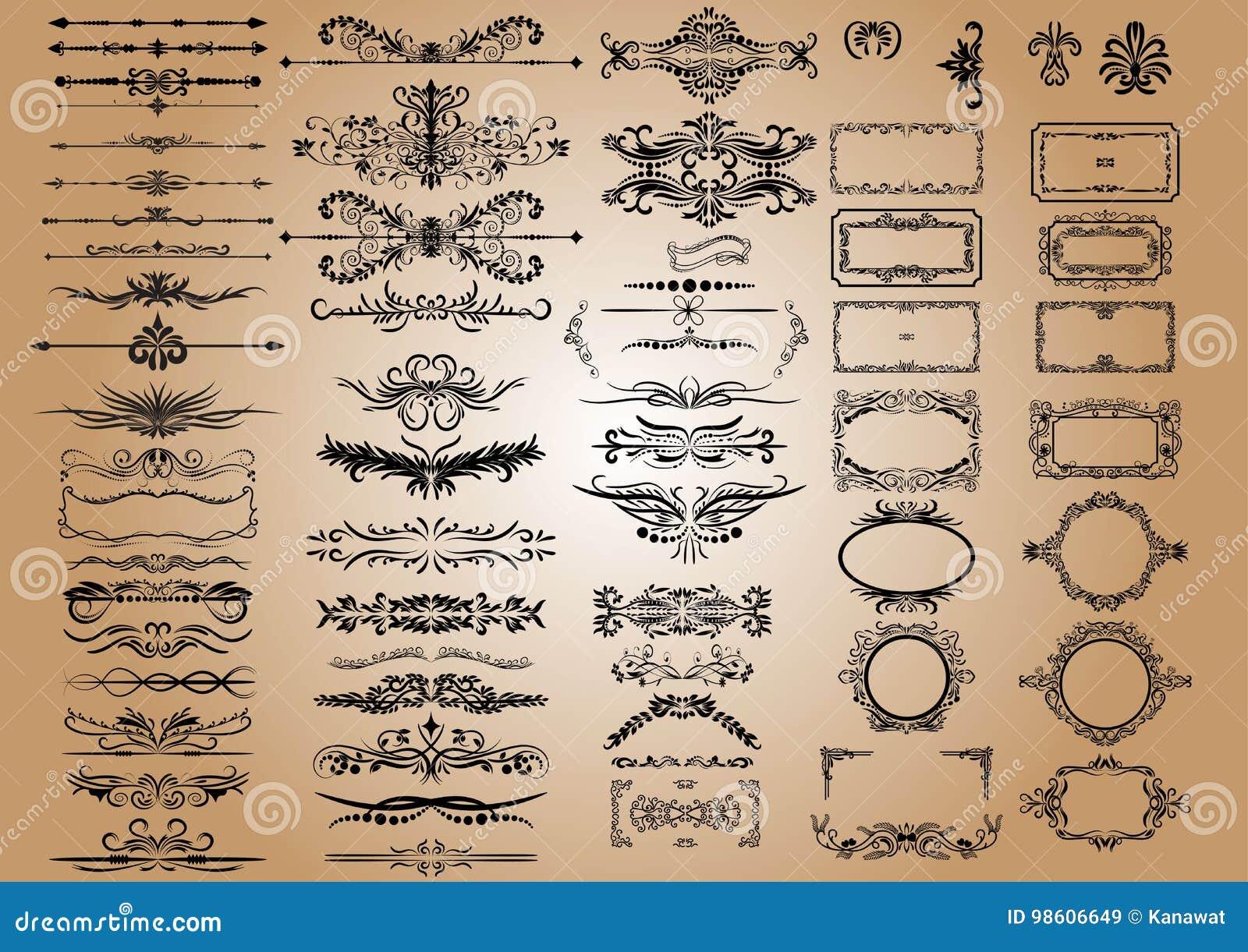 Beståndsdelar för vektortappninggarneringar Calligraphic prydnader och ramar för krusidullar retro stildesignsamling