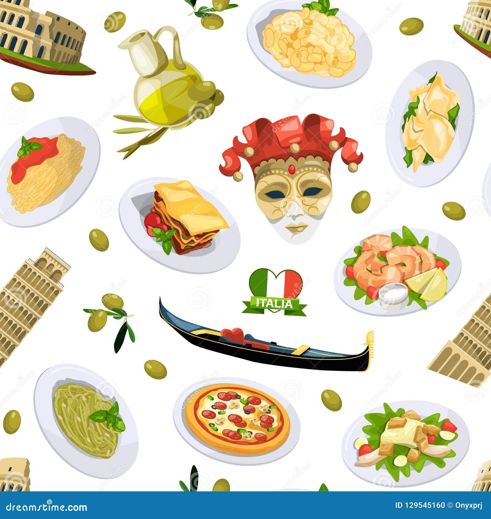 Beståndsdelar modell för kokkonst för vektortecknad film italienska eller bakgrundsillustration