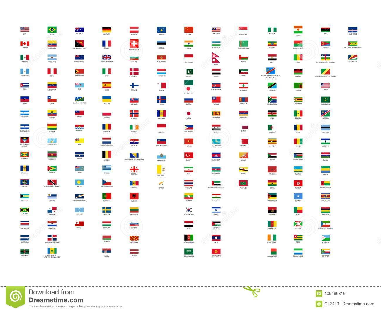 194 Vector Best All Continents World Flags Collection With ...Flags Of Asia With Names