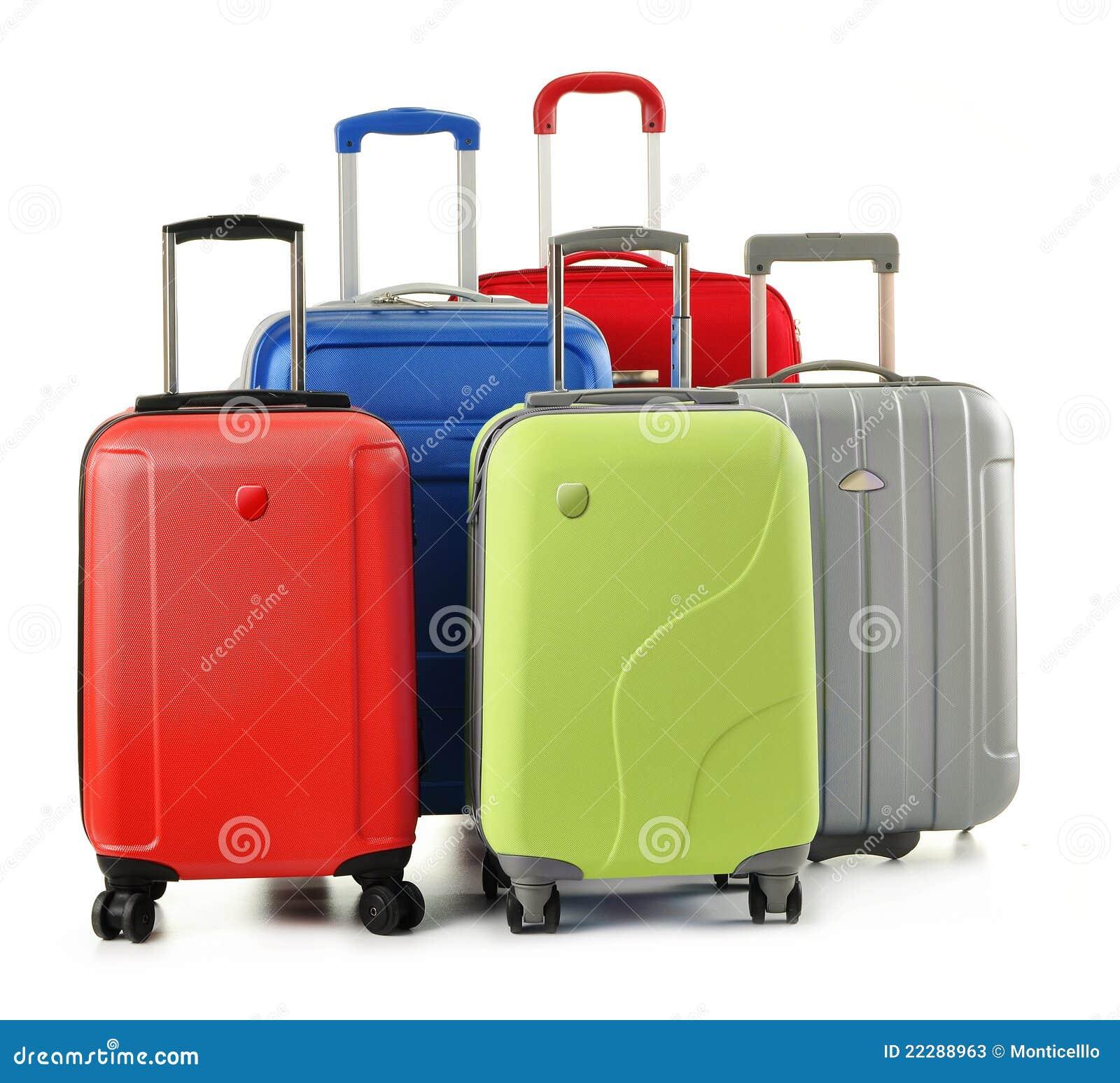 Bestående isolerade vita bagageresväskor