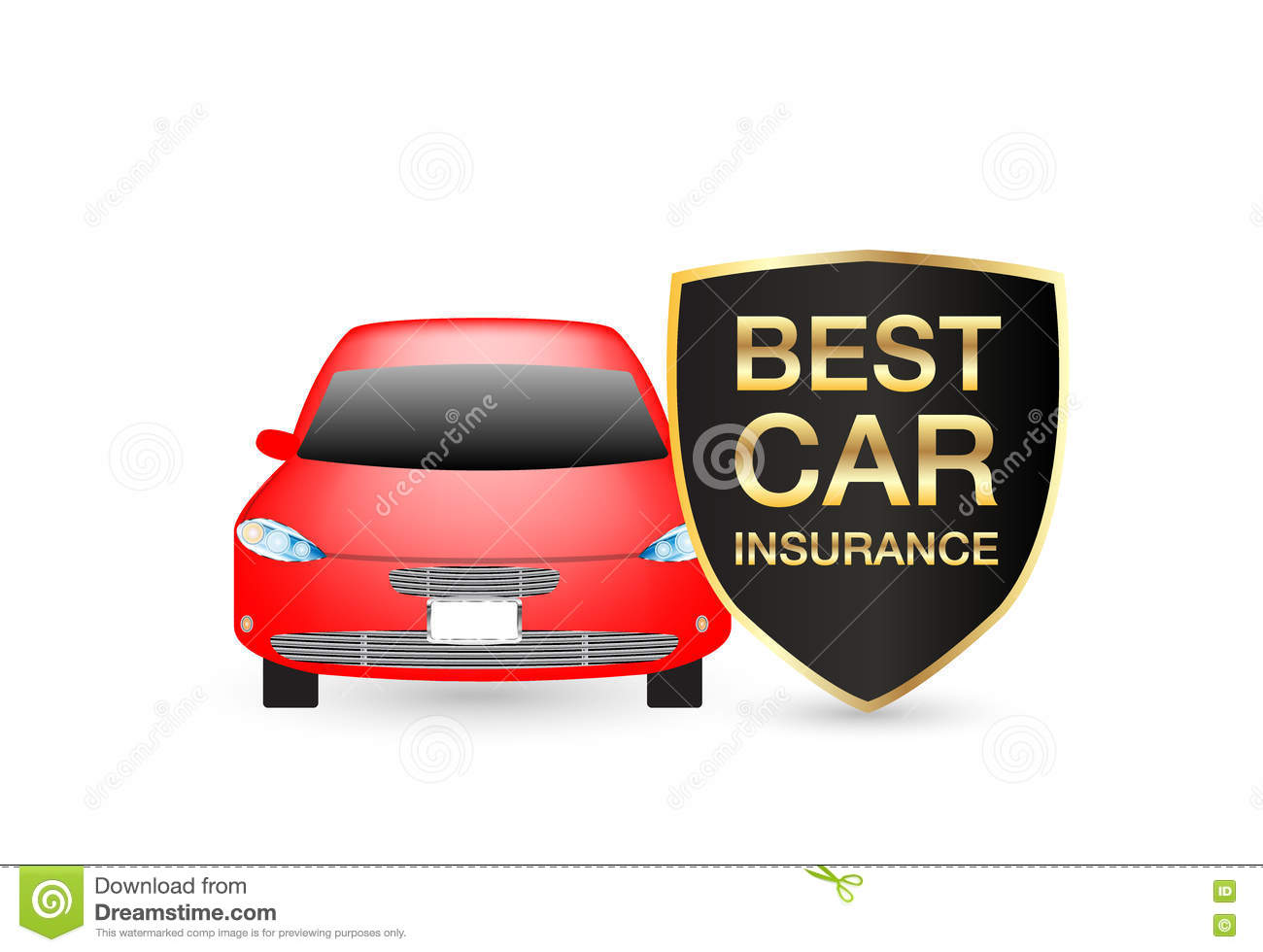 Best Car Insurance Shield Logo With Red Car Stock Vector