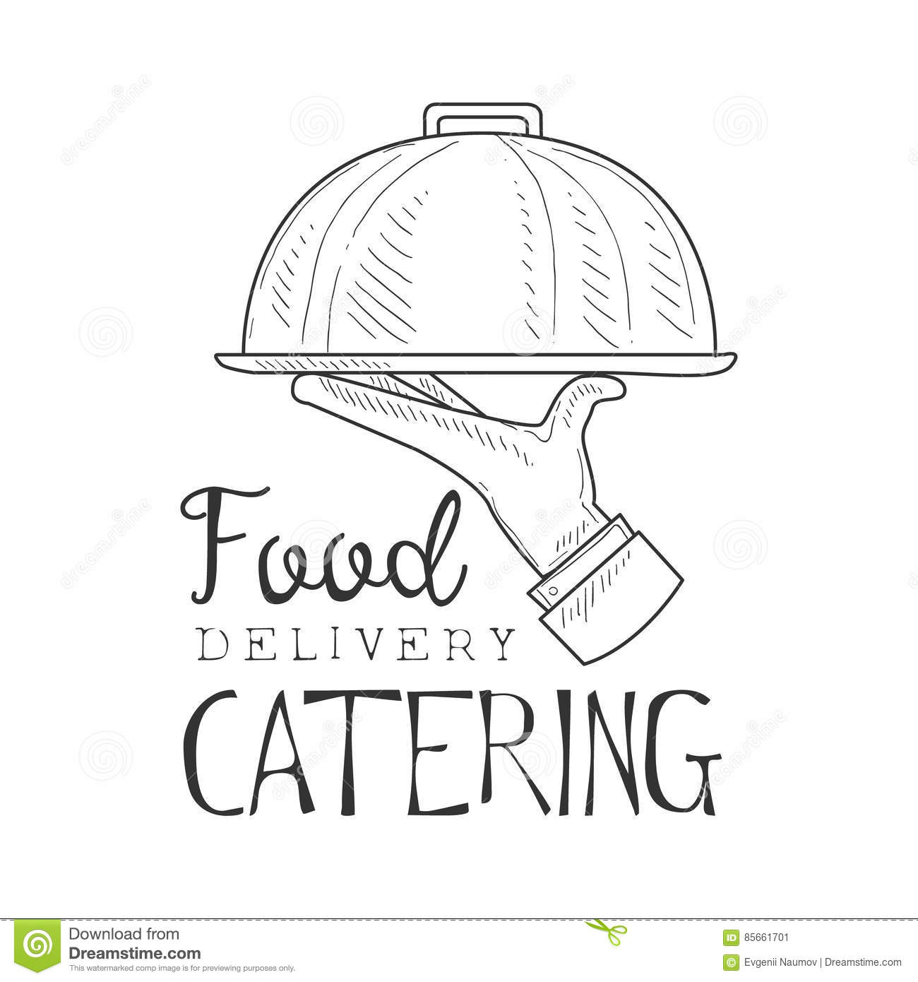 Best Catering Food Delivery Service Hand Drawn Black And White Sign ...