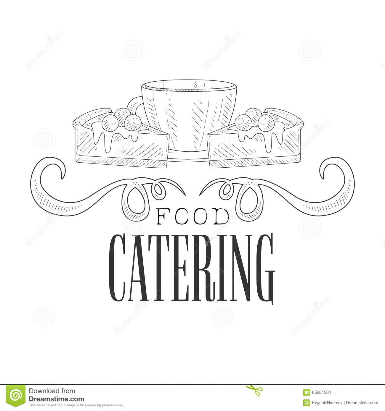 best catering service hand drawn black and white sign with coffee