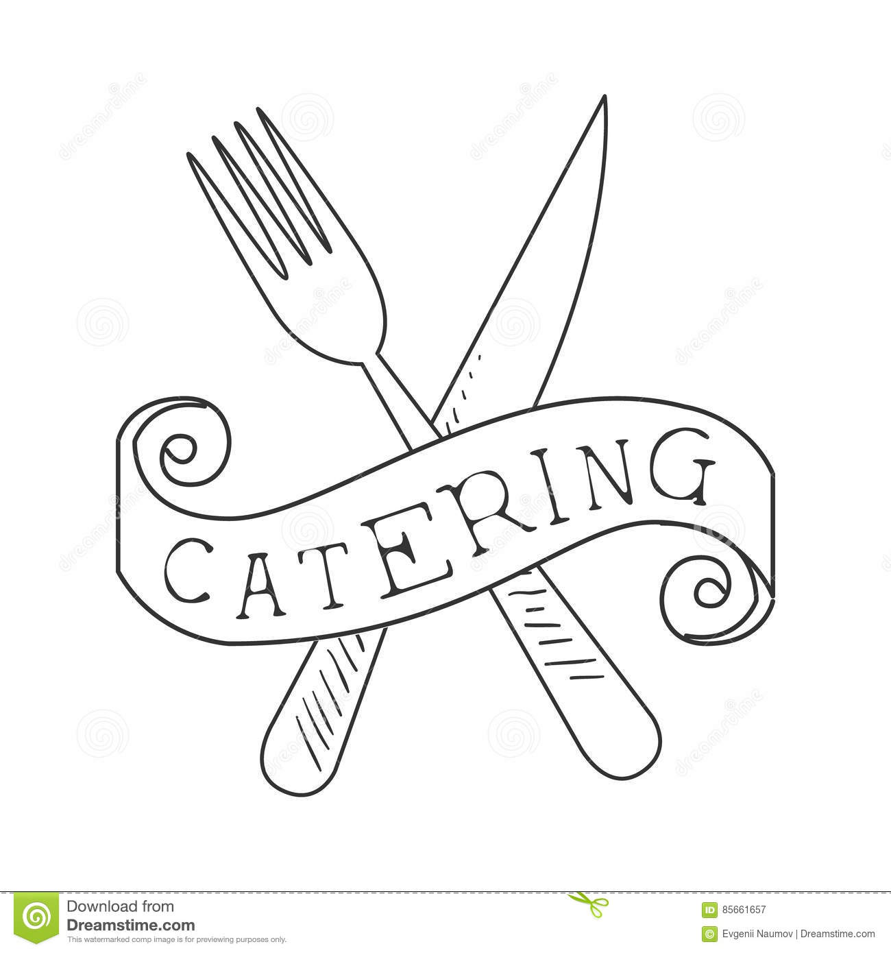 best catering service hand drawn black and white sign with crossed