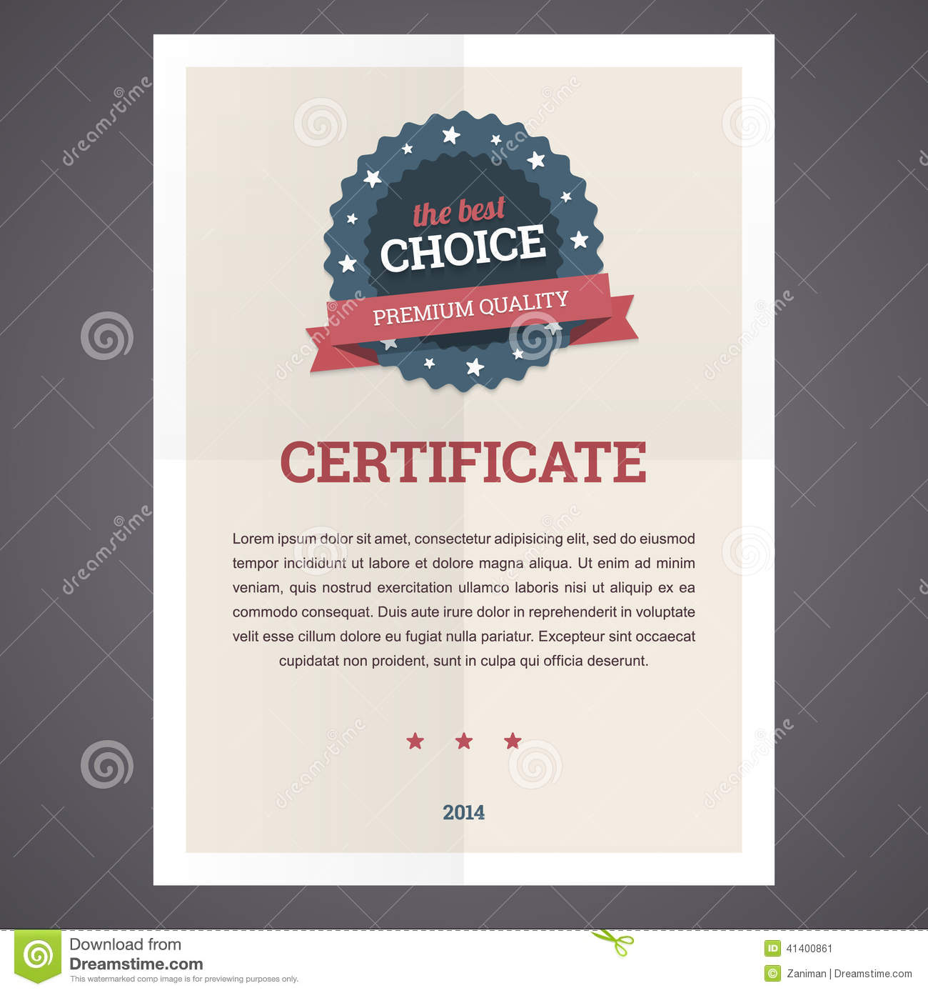 best choice certificate template  stock vector