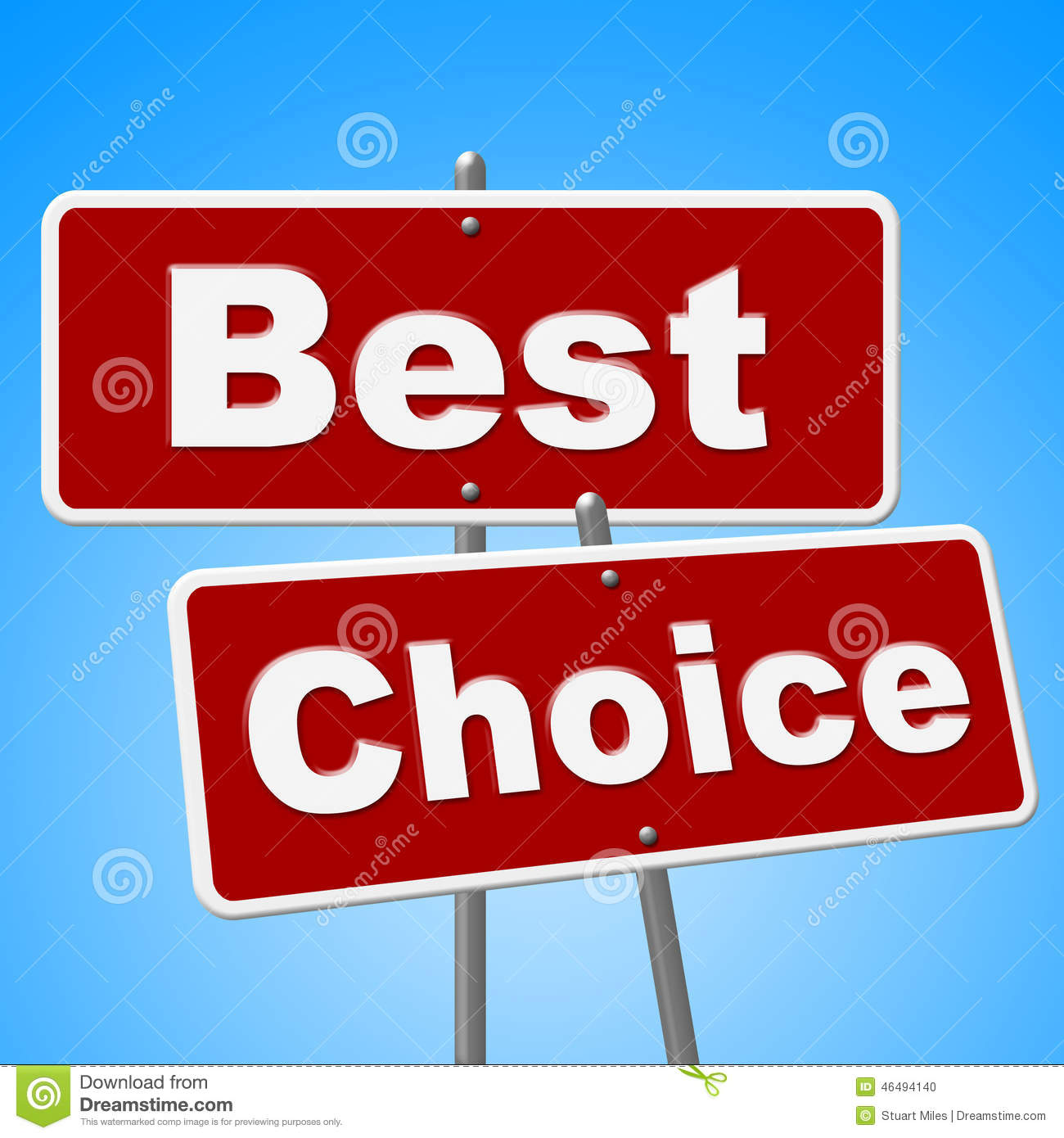 Sales Deal: Best Choice Signs Means Number One And Alternative Stock