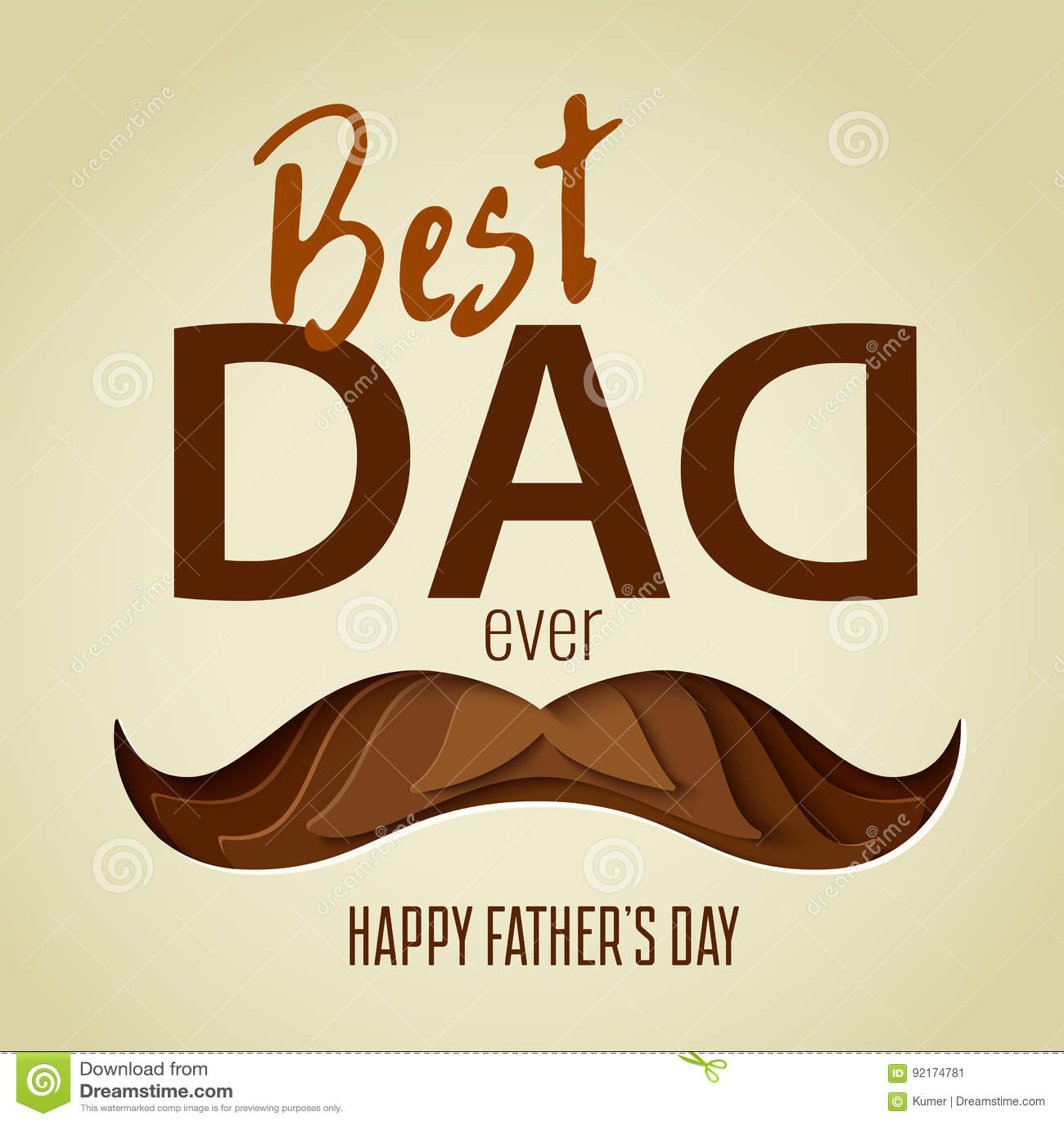 Best Dad Ever 3d Paper Cut Hipster Beard With Mustache ...