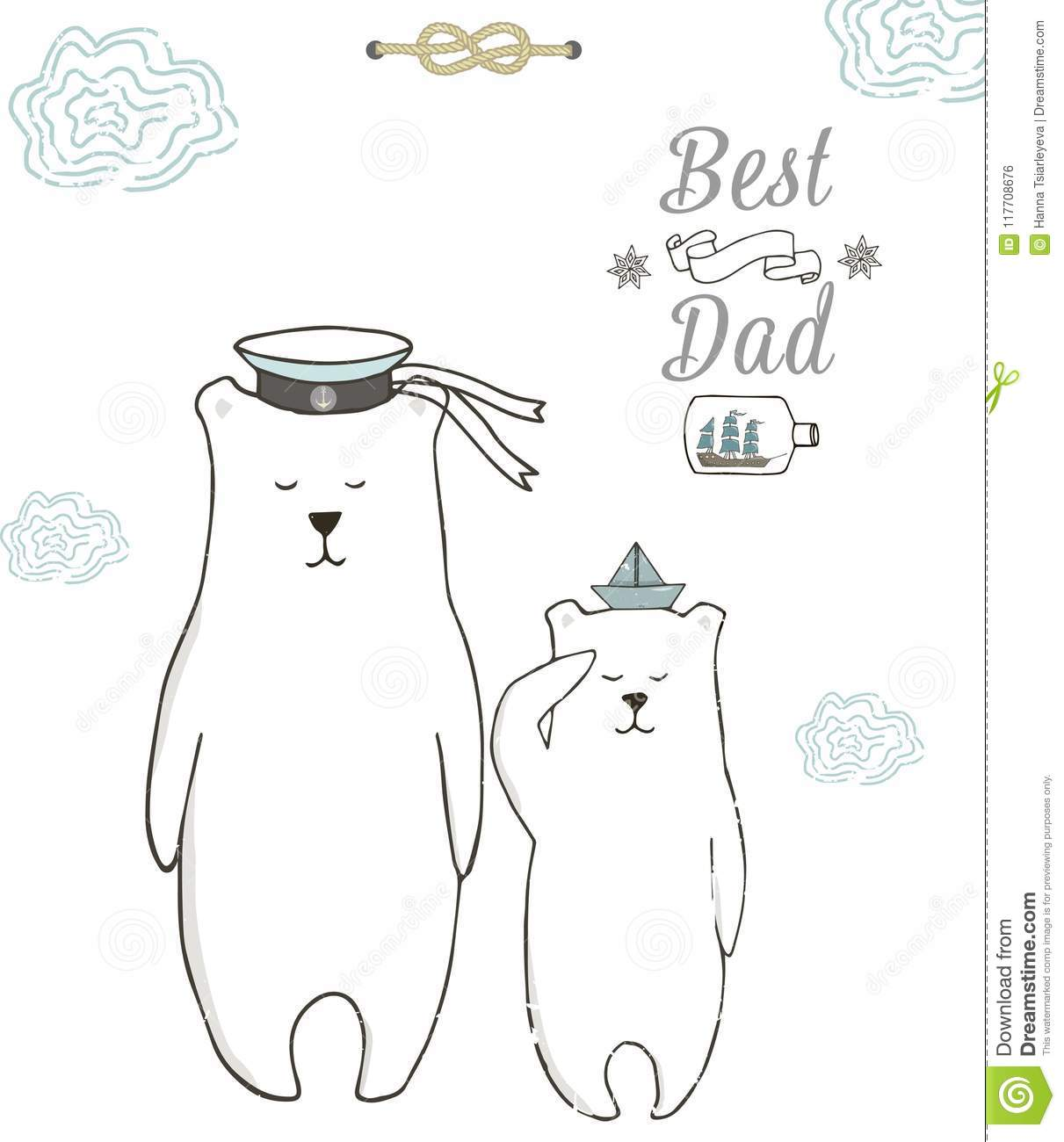 Best Dad Happy Fathers Day White Background Greeting Card
