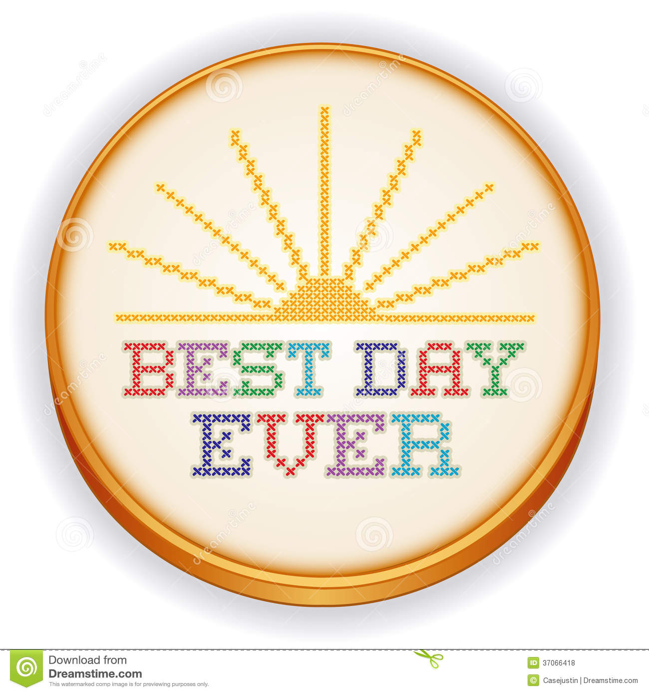 Best day ever cross stitch embroidery sewing hoop stock