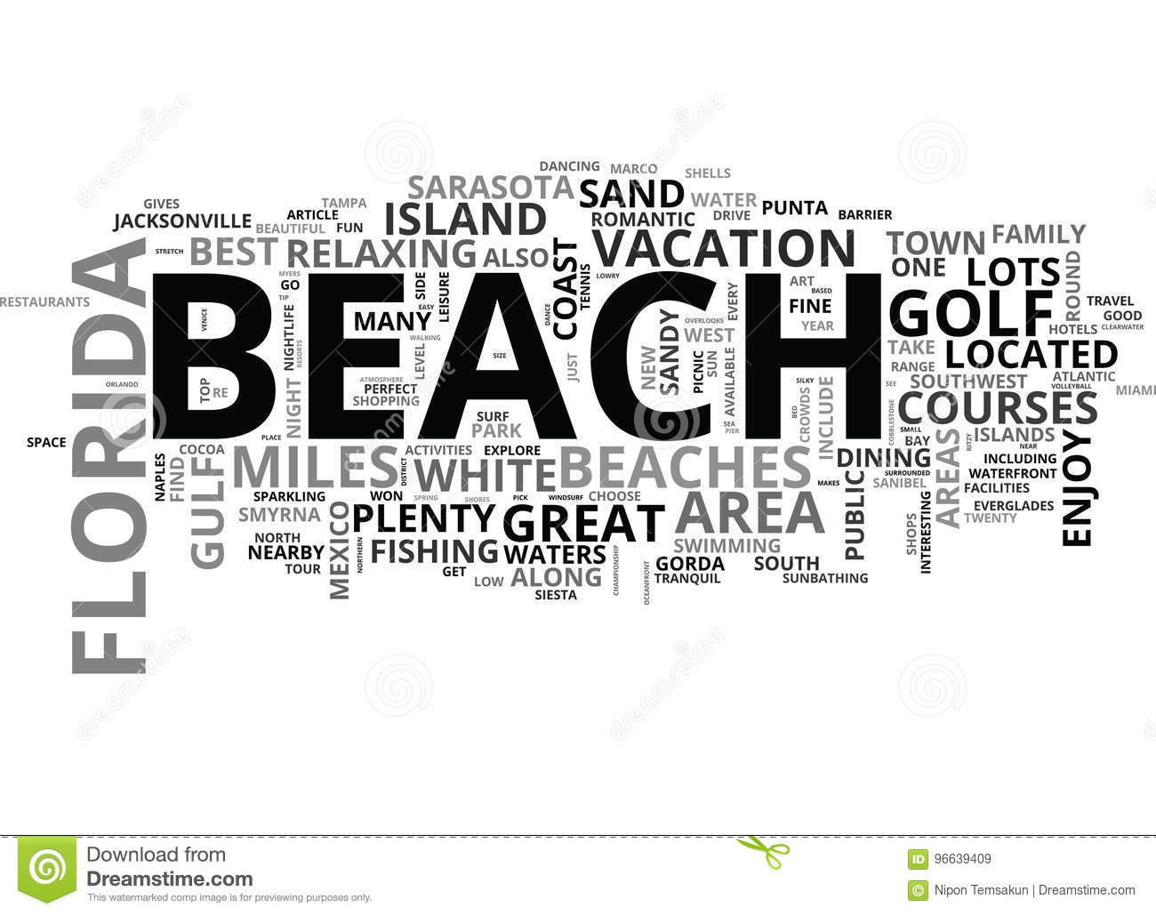 Best Florida Beaches Word Cloud