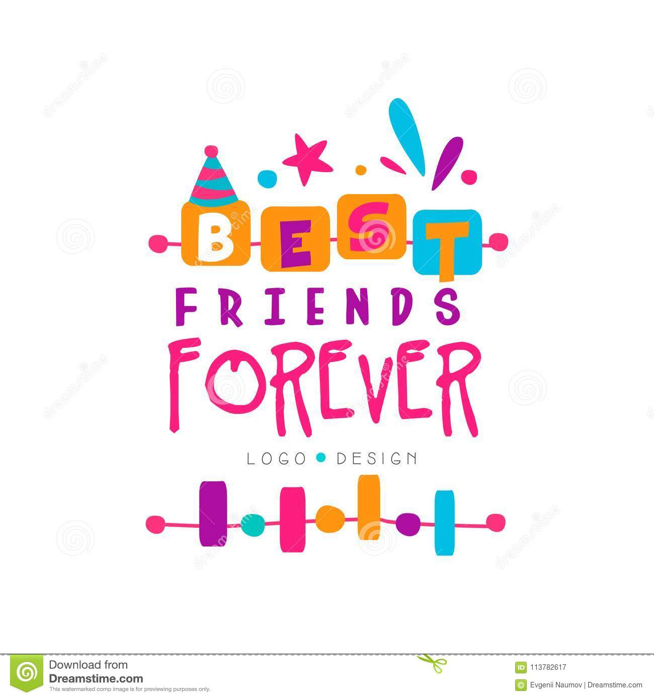 Best friend forever logo template with lettering. Friendship theme. Vector design for invitation, postcard, print or