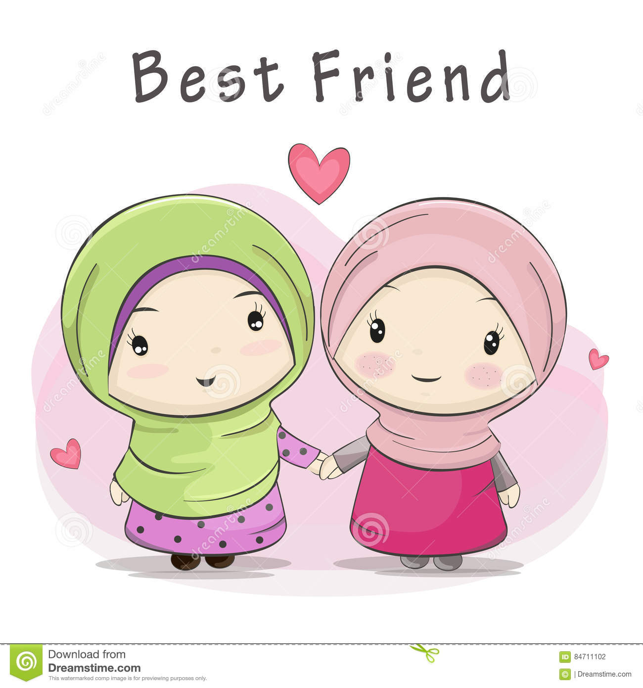 Best Friend Of Two Cute Muslim Girls Cartoon Stock Vector