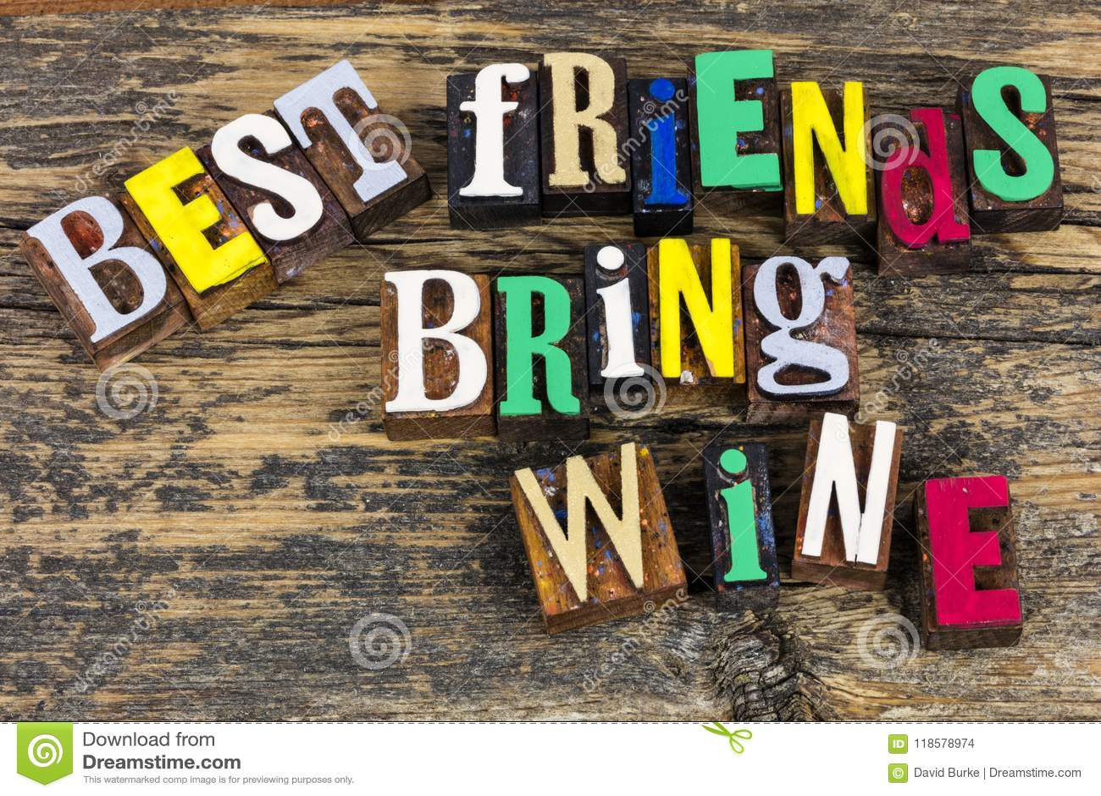 Best Friends Bring Wine Friendship Bff Stock Photo - Image