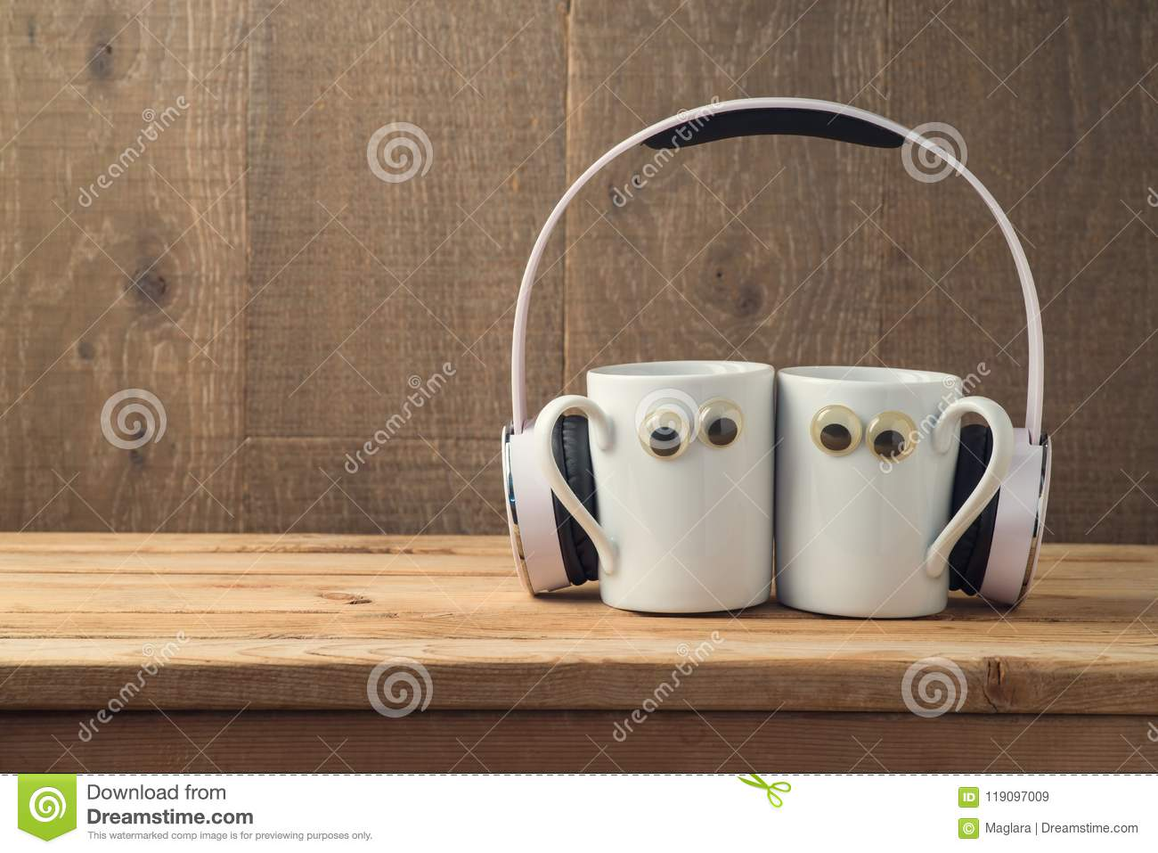 Best Friends Concept With Two Coffee Cups Stock Image Image Of Wooden Background 119097009