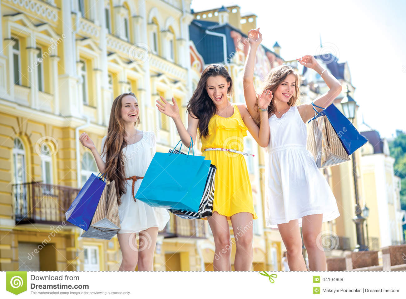 Best Friends Do Shopping Girls Holding Shopping Bags And