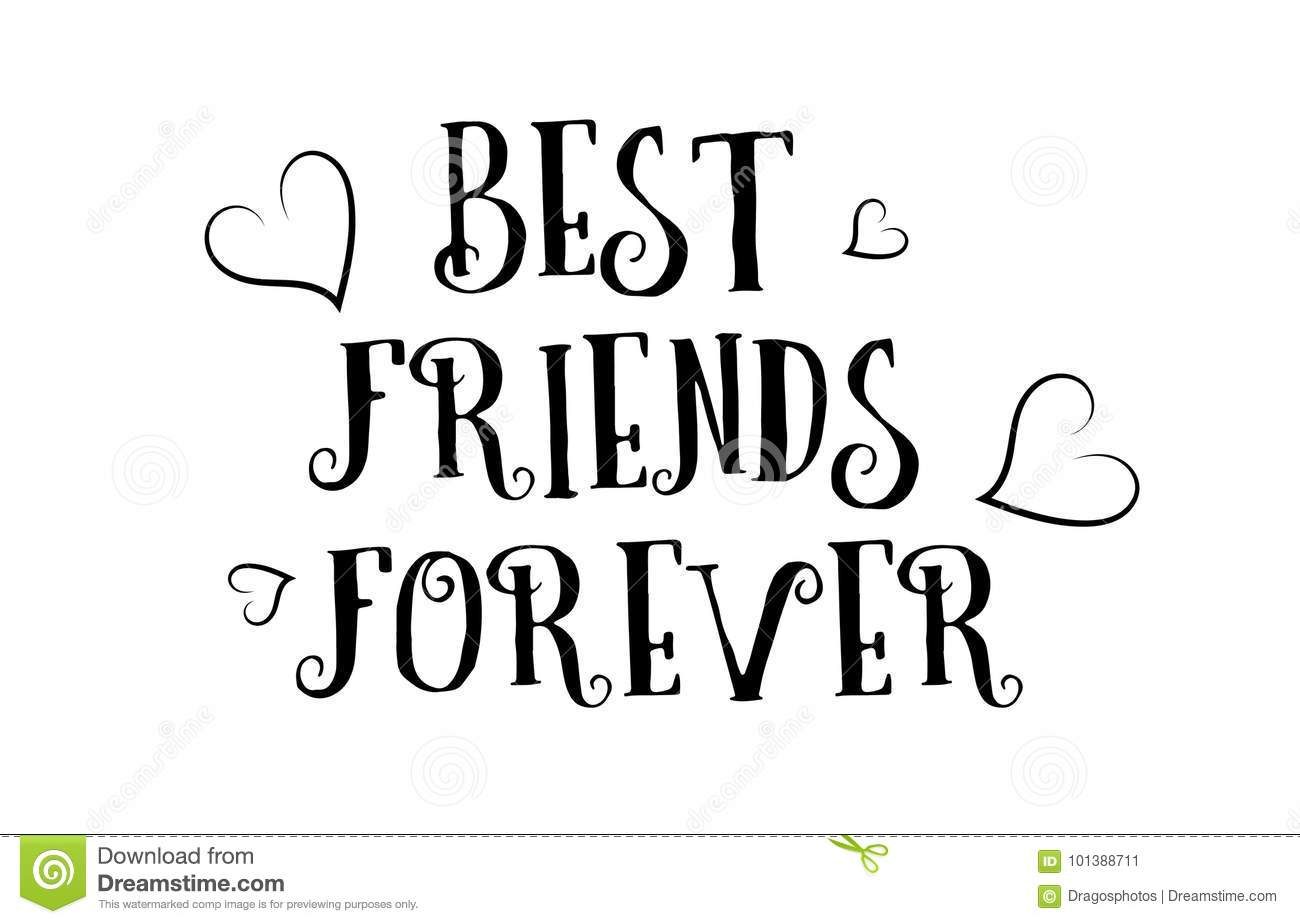 Best Friends Forever Love Quote Logo Greeting Card Poster Design