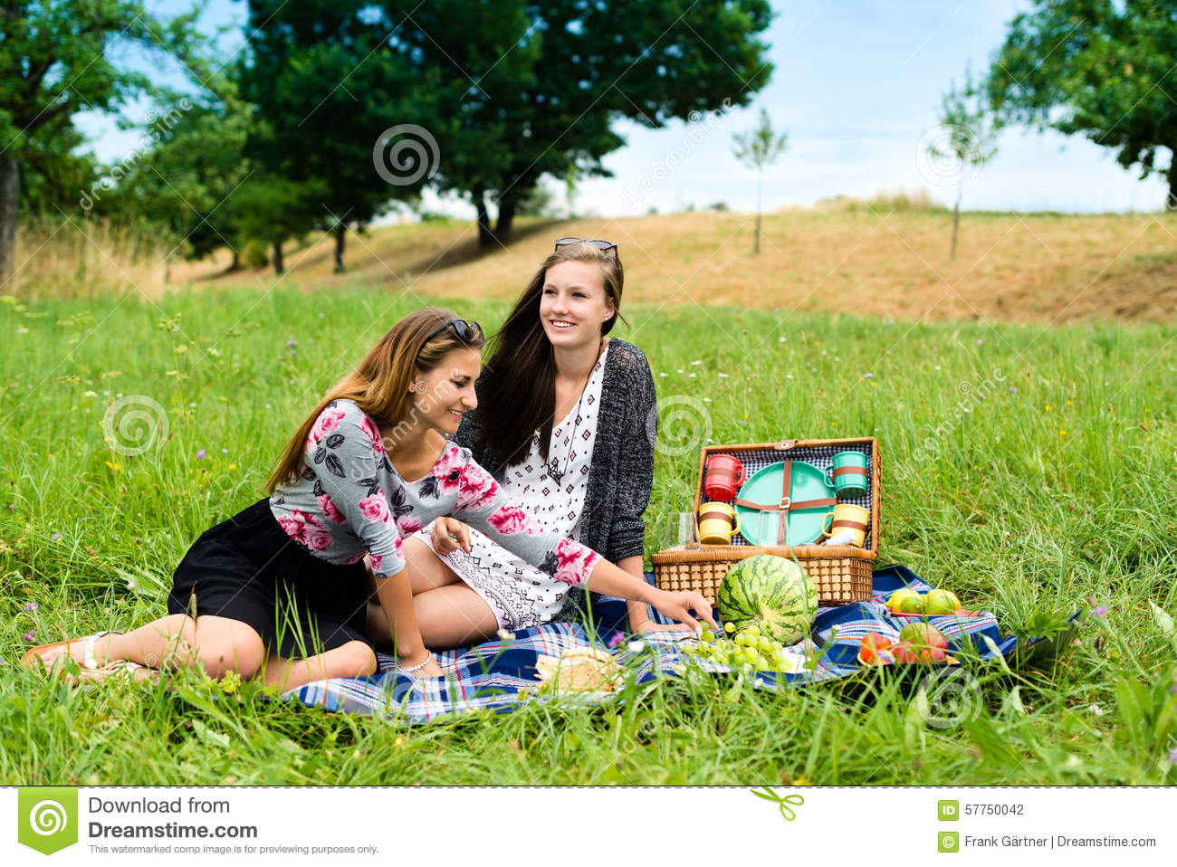 Two Girls Having Picnic On Tropical Beach Stock Photo, Picture And ...