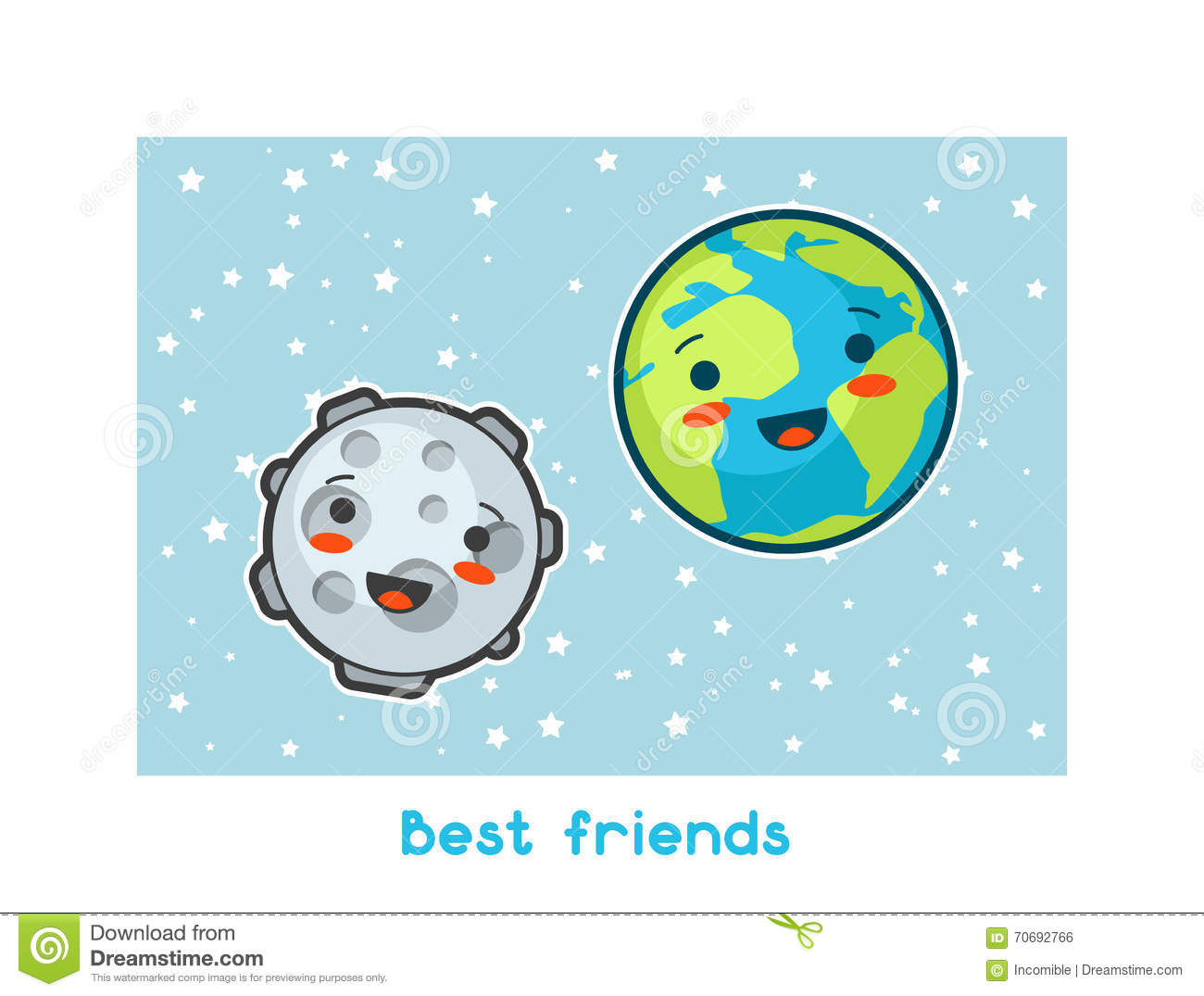 Best Friends. Kawaii Space Funny Card. Doodles With Pretty