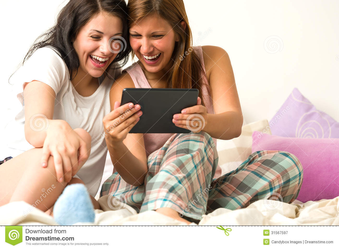 Download Best Friends Laughing Browsing Social Network Stock Image - Image of attractive, browsing: 31567597