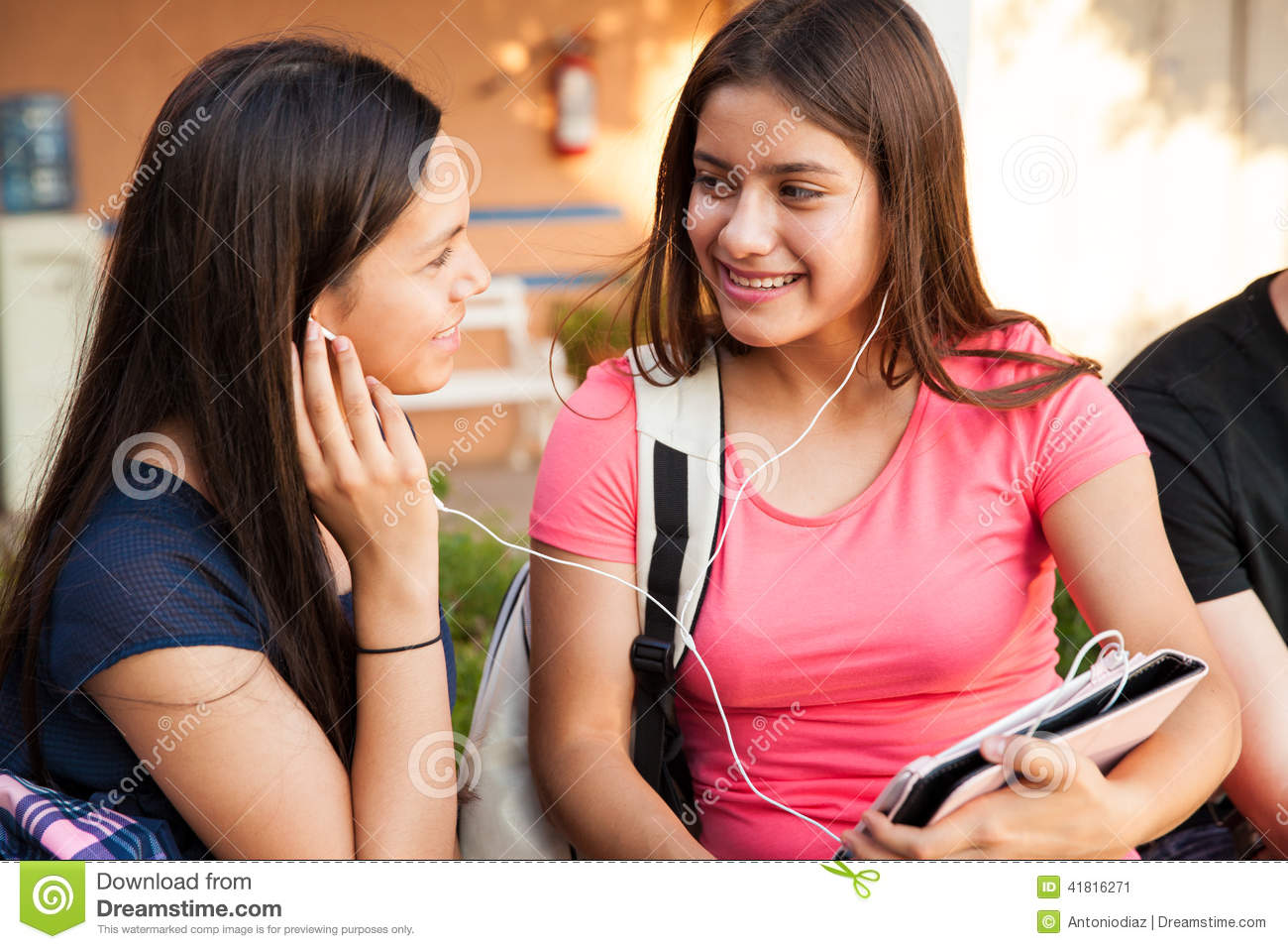 Best Friends Listening To Music Stock Image - Image: 41816271