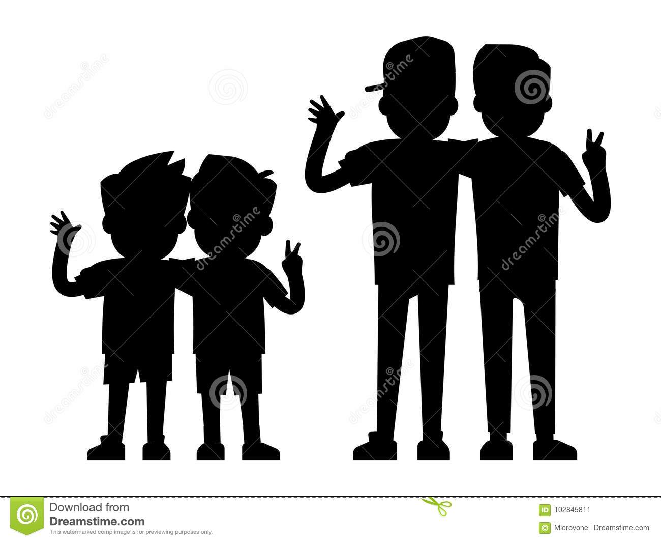 Best friends silhouettes isolated on white background baby boys and teenager boys black silhouettes