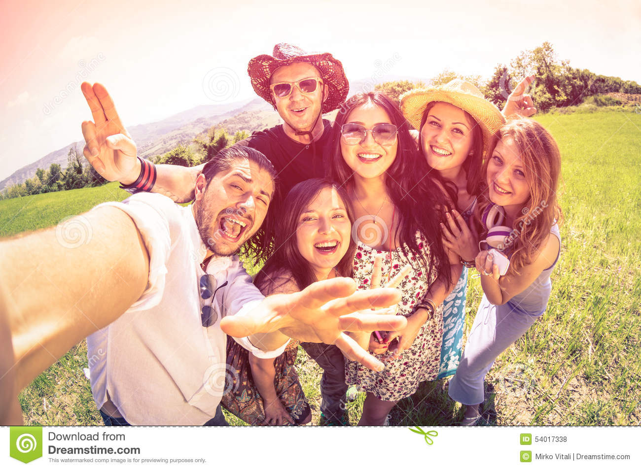 Best Friends Taking Selfie At Countryside Picnic Stock