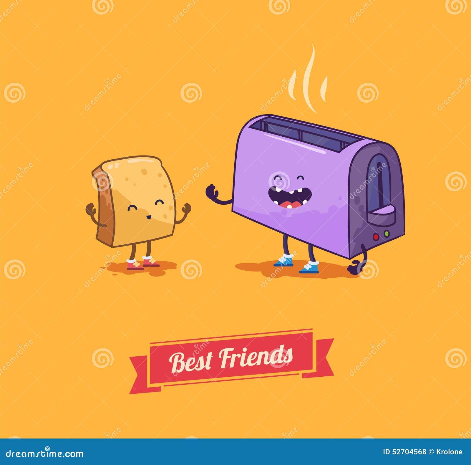 Best Friends Vector Cartoon Breakfast Stock Vector Illustration