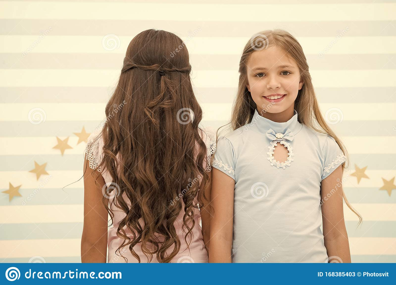Best Hairstyles For Long Hair Cute Small Girls With Long Brunette And Blond Curls In Playroom Adorable Little Children Stock Image Image Of Female Care 168385403