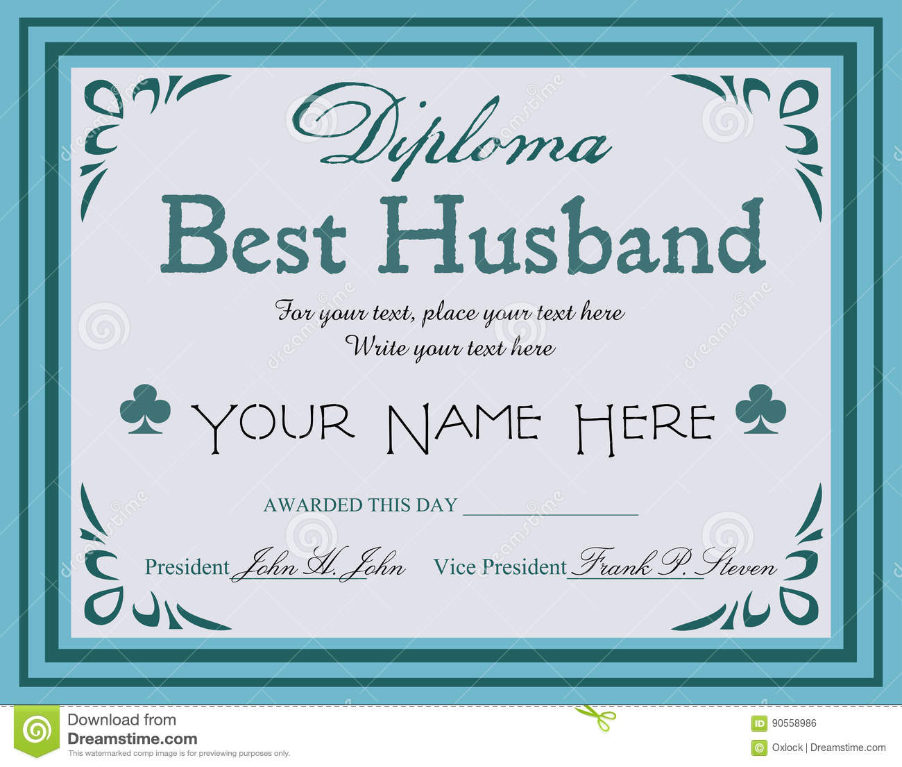best husband diploma stock vector image of achievement  best husband diploma