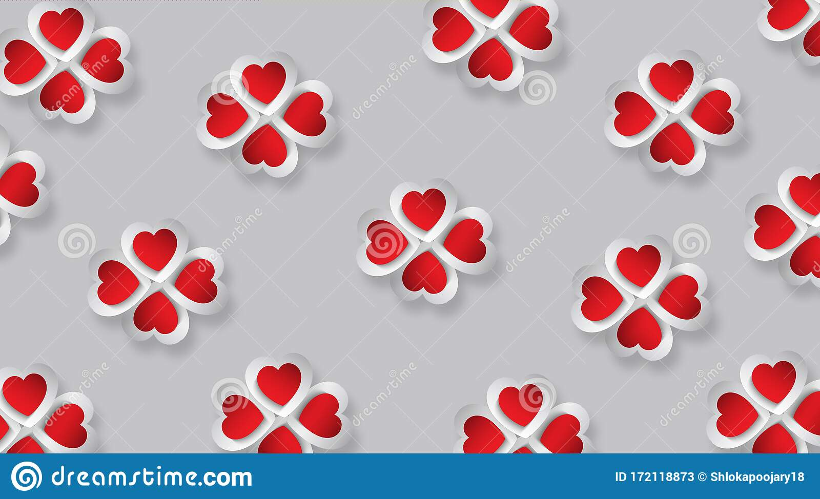 best love wallpaper red white d hearts placed flower form grey background cute useful web designers 172118873